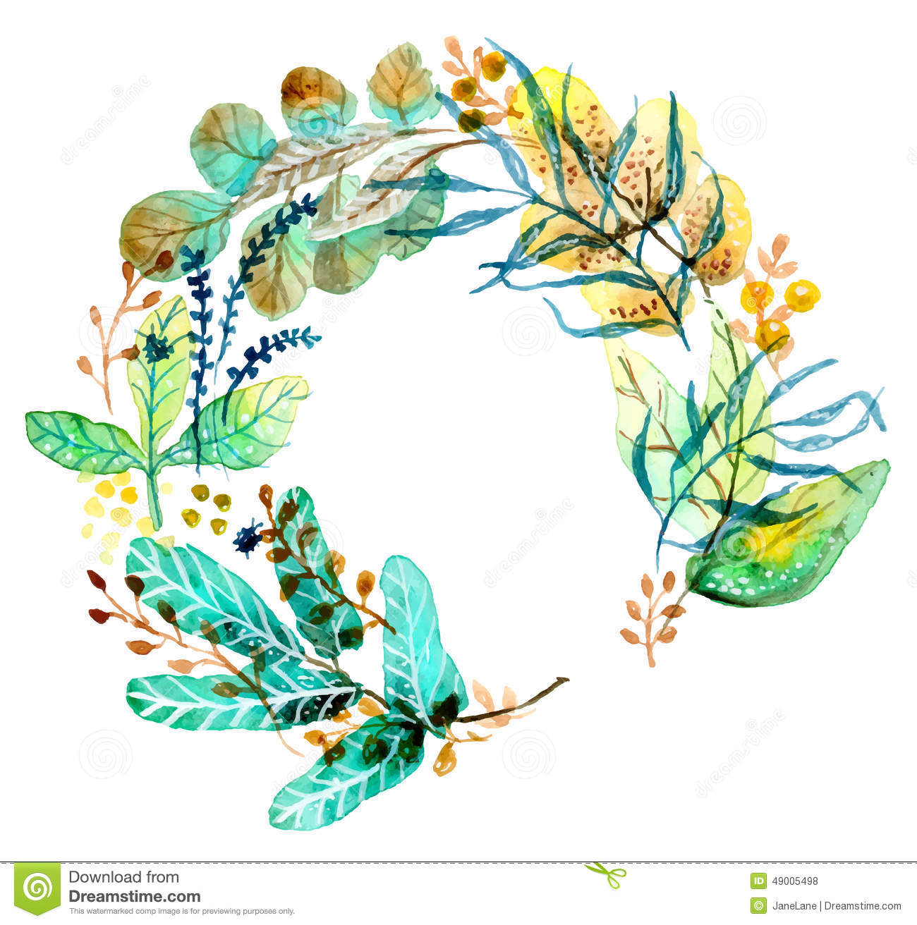 Watercolor Floral Frame, Colorful Natural Illustration Stock Vector ...