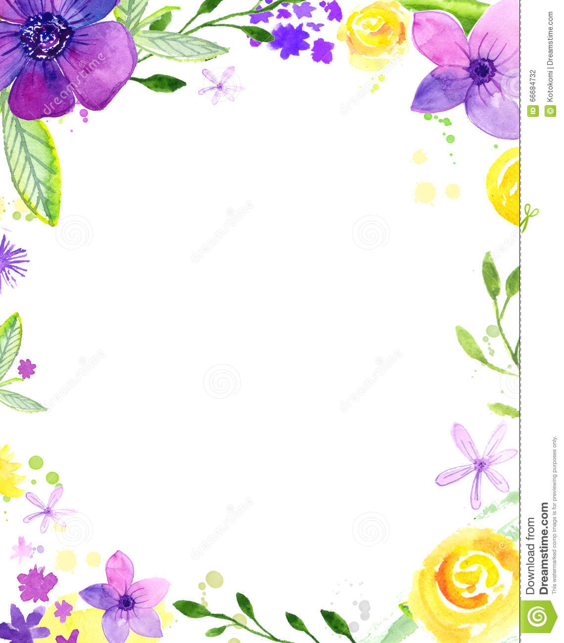 Watercolor Floral Frame With Copy Space Hand Painted