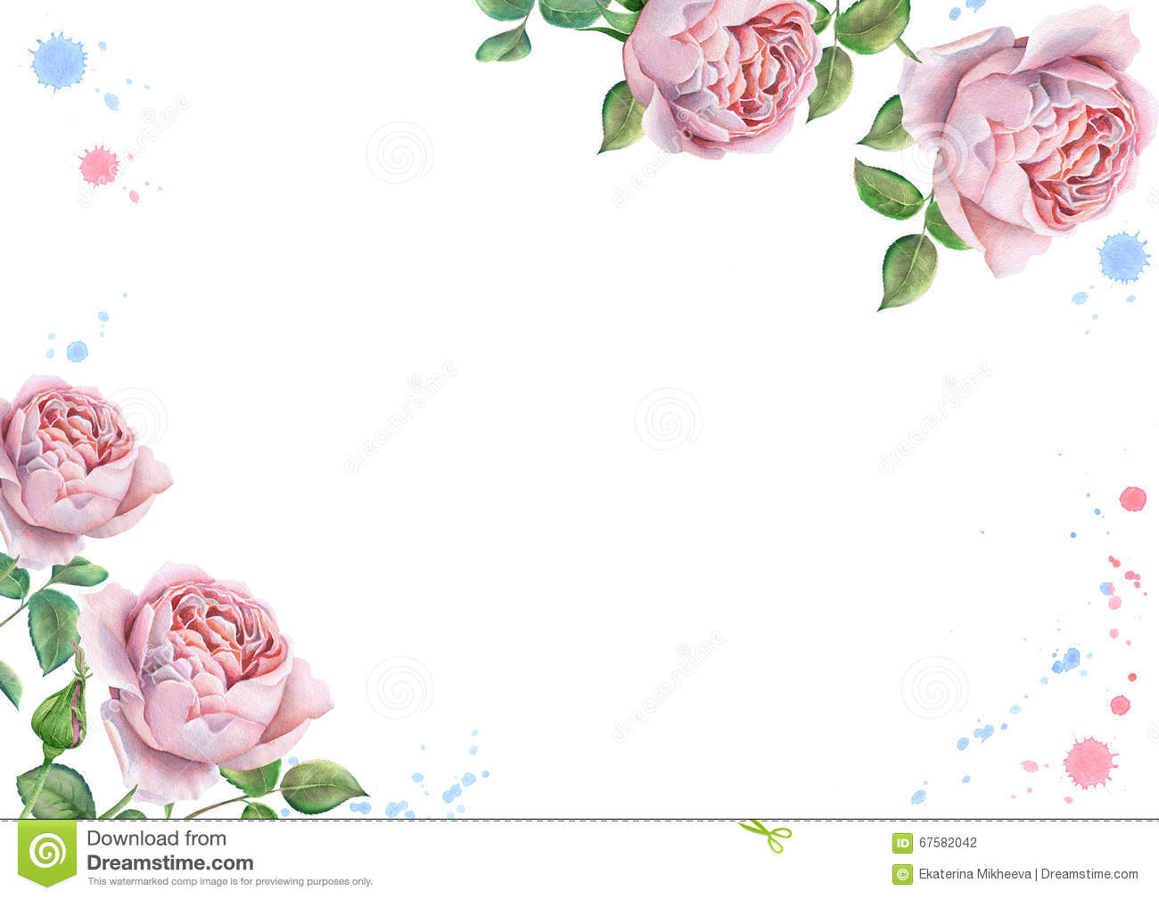 Watercolor Floral Frame With English Roses Stock Photo - Image of ...