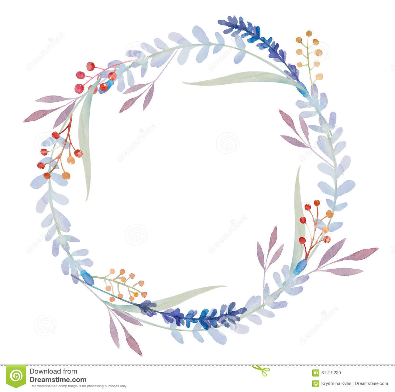 watercolor floral frame  flowers in wreath stock illustration