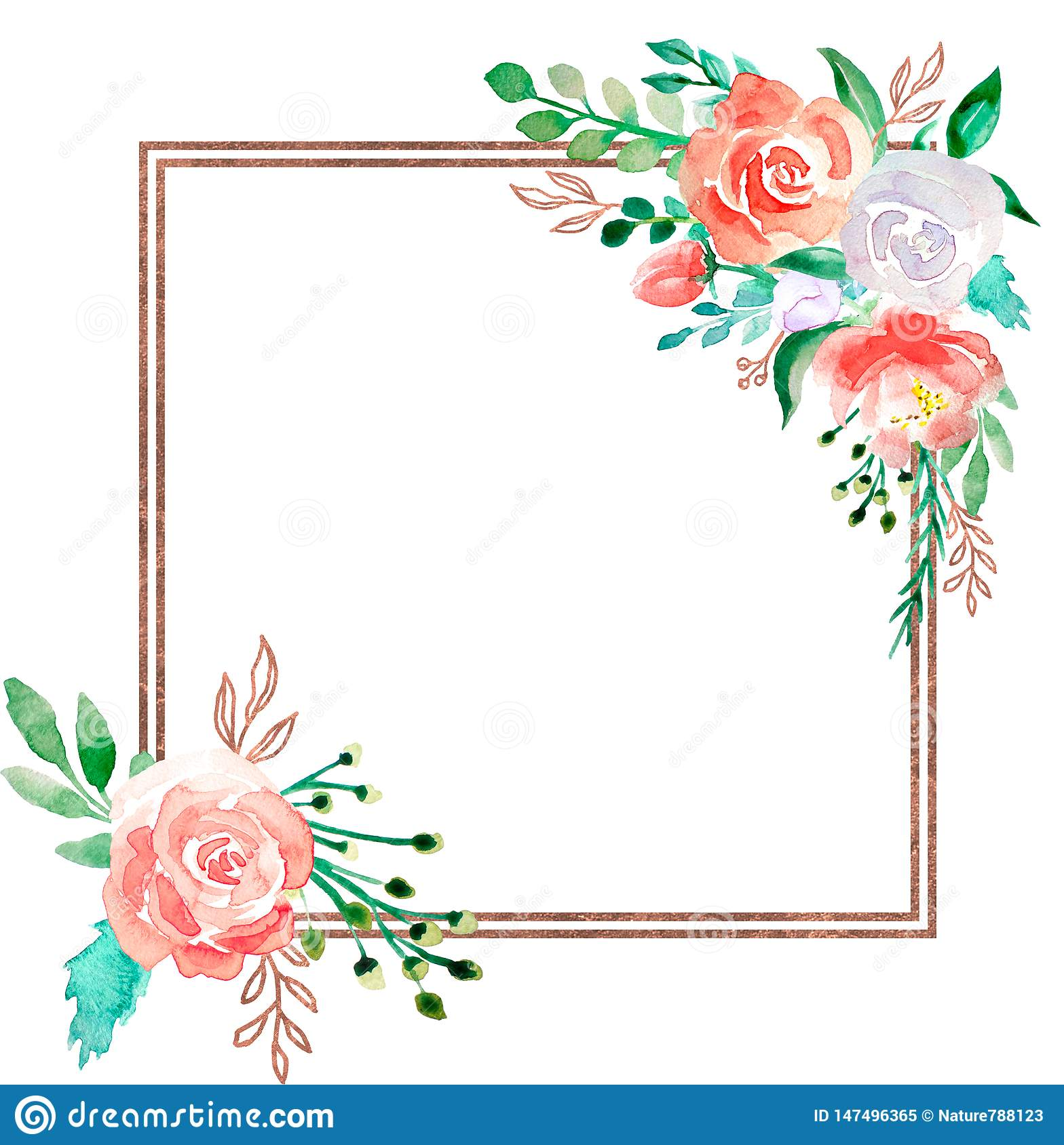 Wedding Flower Borders: Watercolor Floral Frame With Golden Bronze Border
