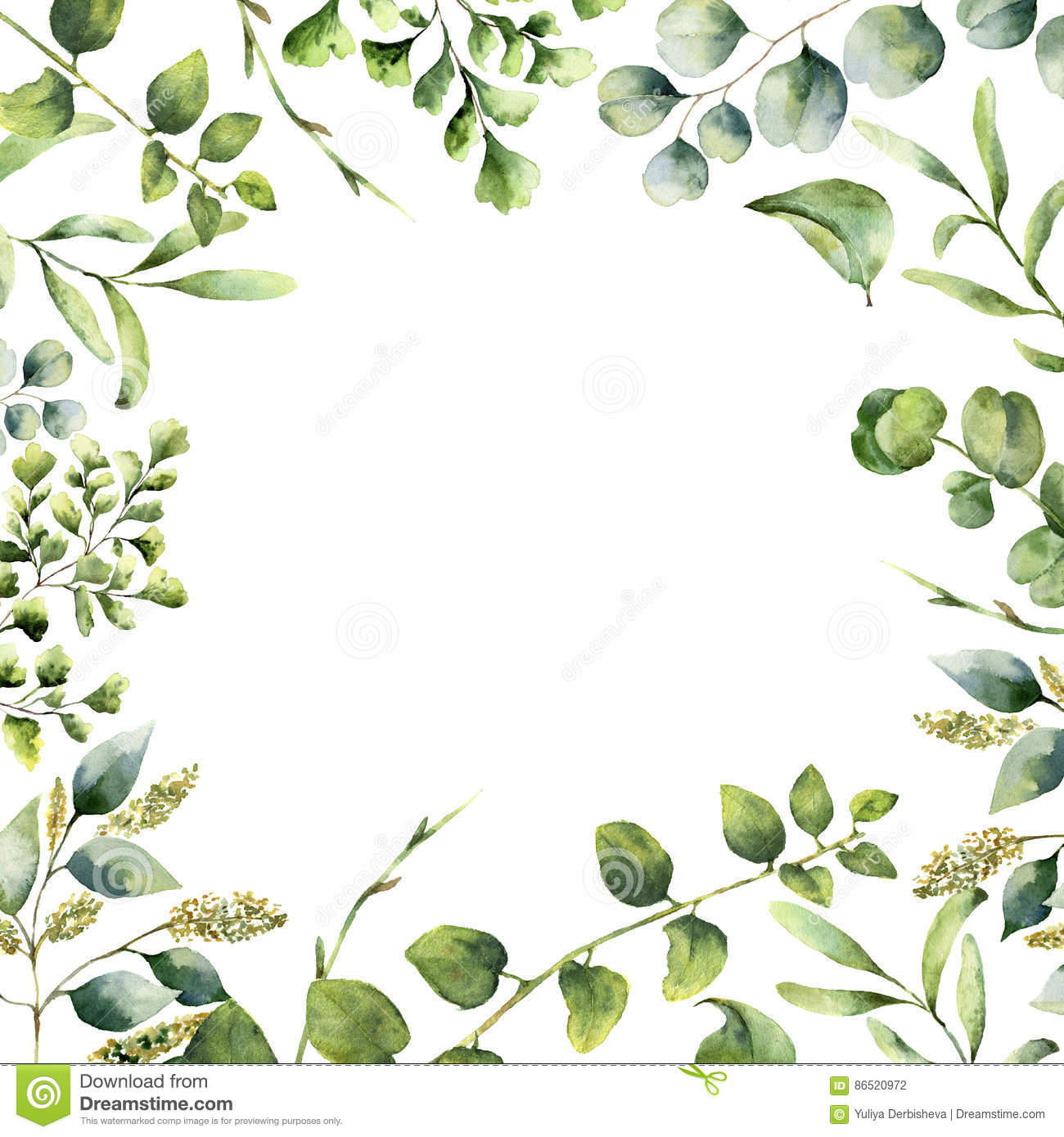 Watercolor floral frame. Hand painted plant card with eucalyptus, fern and spring greenery branches isolated on white
