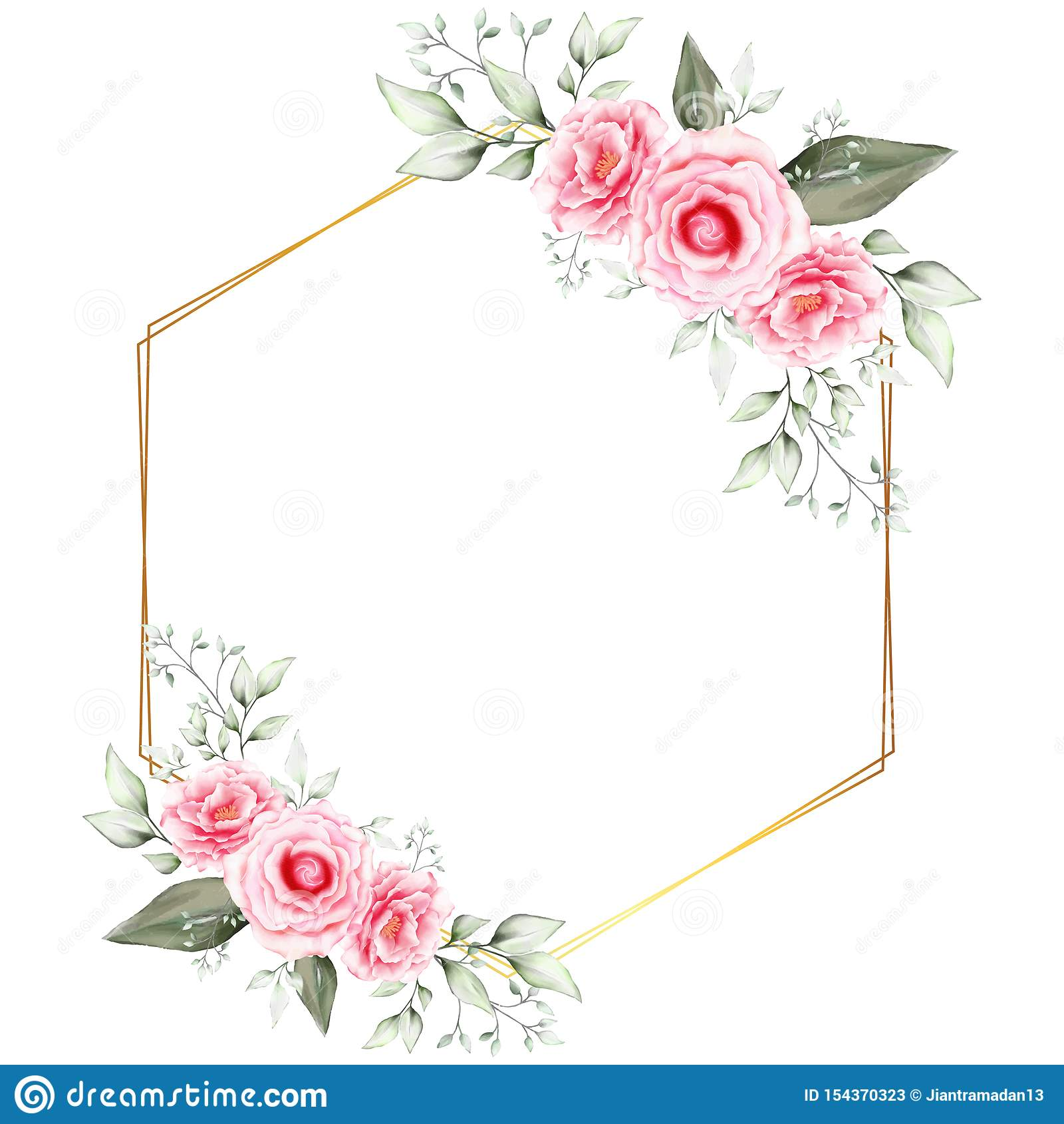 Watercolor Floral Frame Wedding Invitation Cards Template