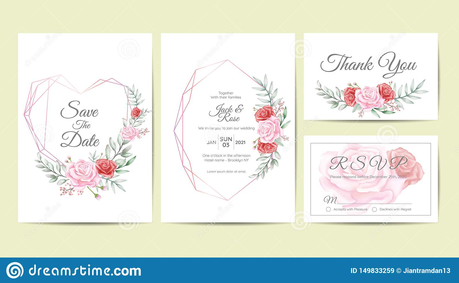 Watercolor Floral Frame Wedding Invitation Cards Template. Hand Drawing Flower and Branches Save the Date, Greeting, Thank You,