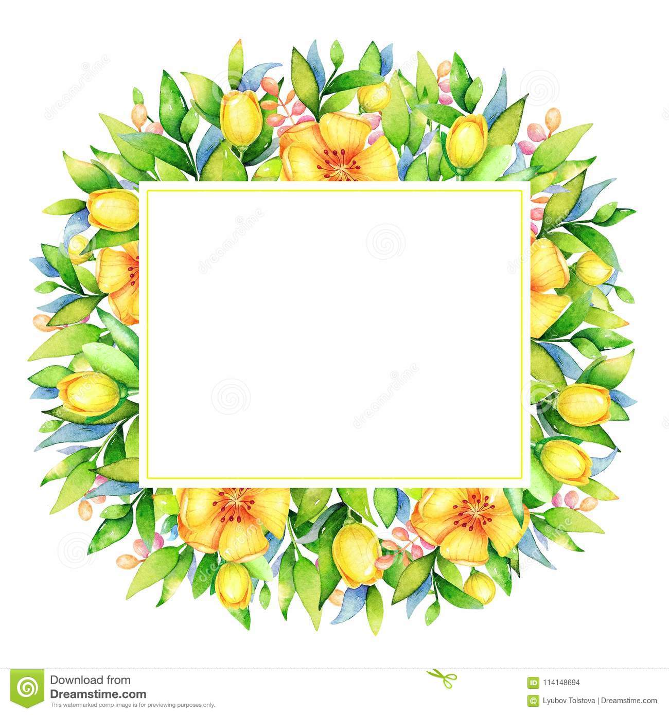 Watercolor Floral Frame With Yellow Flowers Stock Illustration