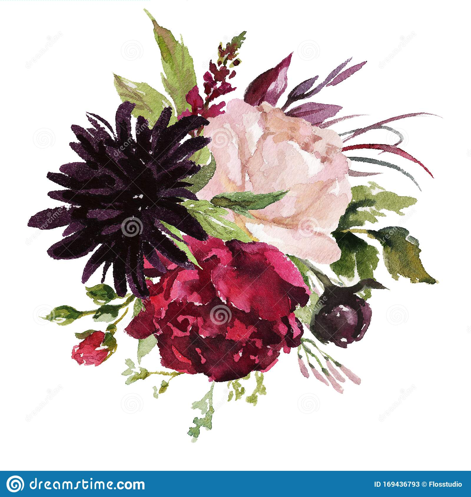 Watercolor Floral Illustration Flowers Burgundy Bouquet Stock Illustration Illustration Of Blossom Decoration 169436793