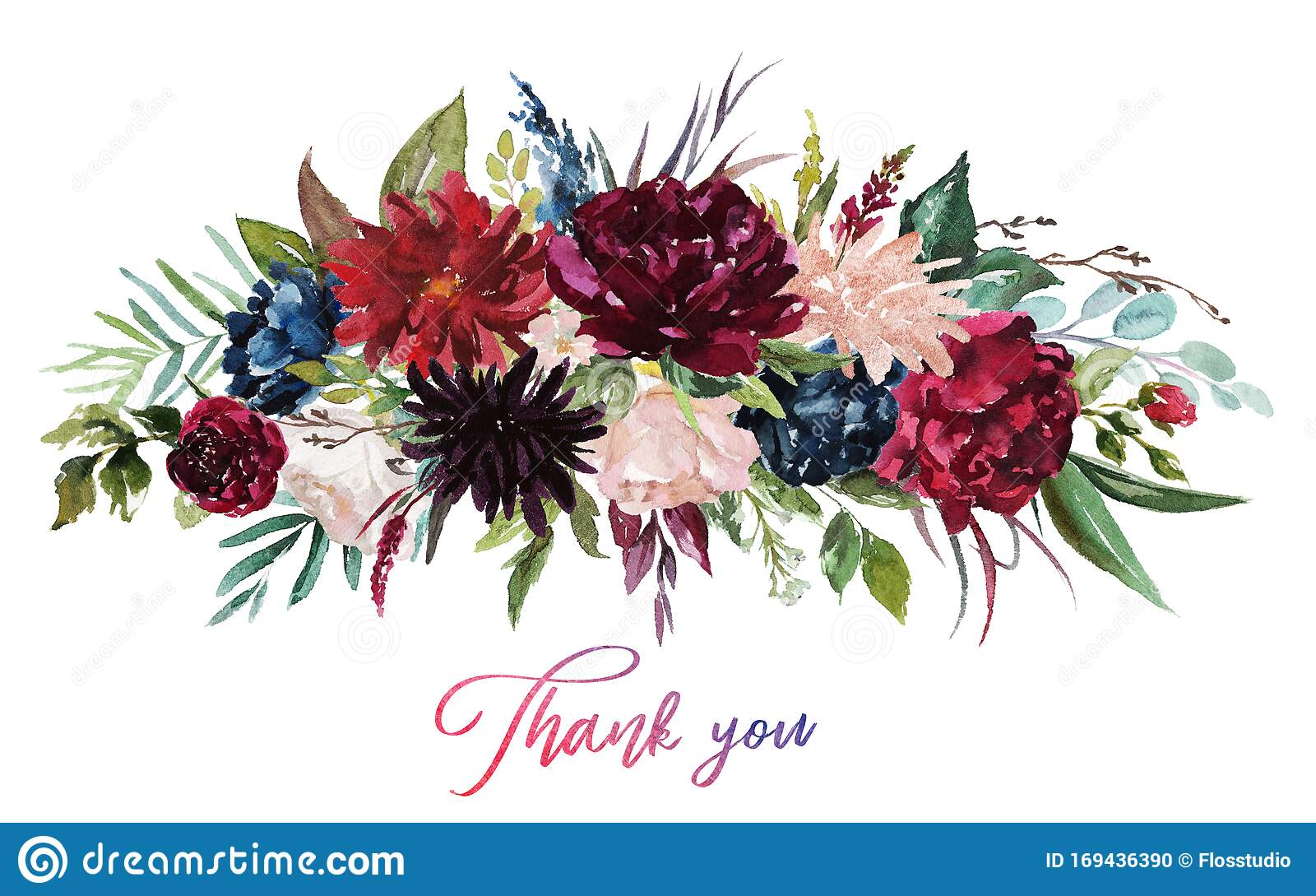 Watercolor Floral Illustration Flowers Burgundy Bouquet Stock Illustration Illustration Of Invitation Blue 169436390