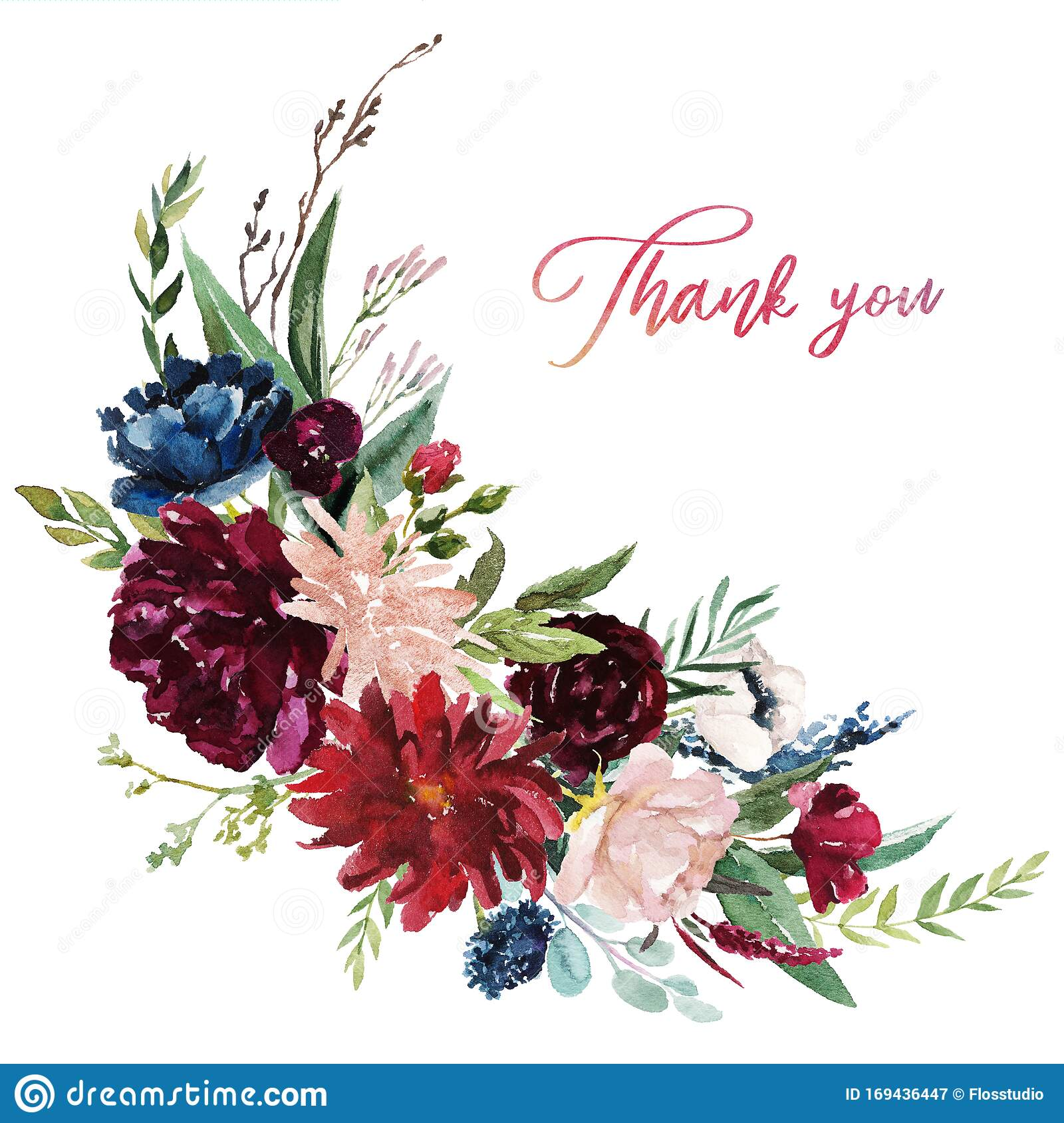 Watercolor Floral Illustration Flowers Burgundy Bouquet Stock Illustration Illustration Of Blue Boho 169436447