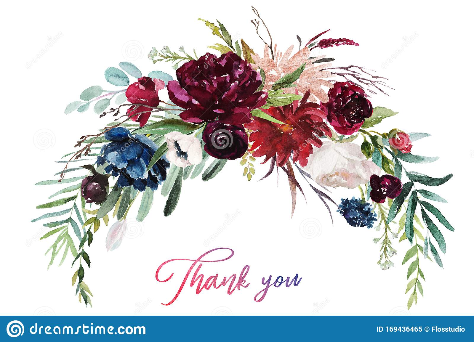 Watercolor Floral Illustration Flowers Burgundy Bouquet Stock Illustration Illustration Of Leaf Floral 169436465