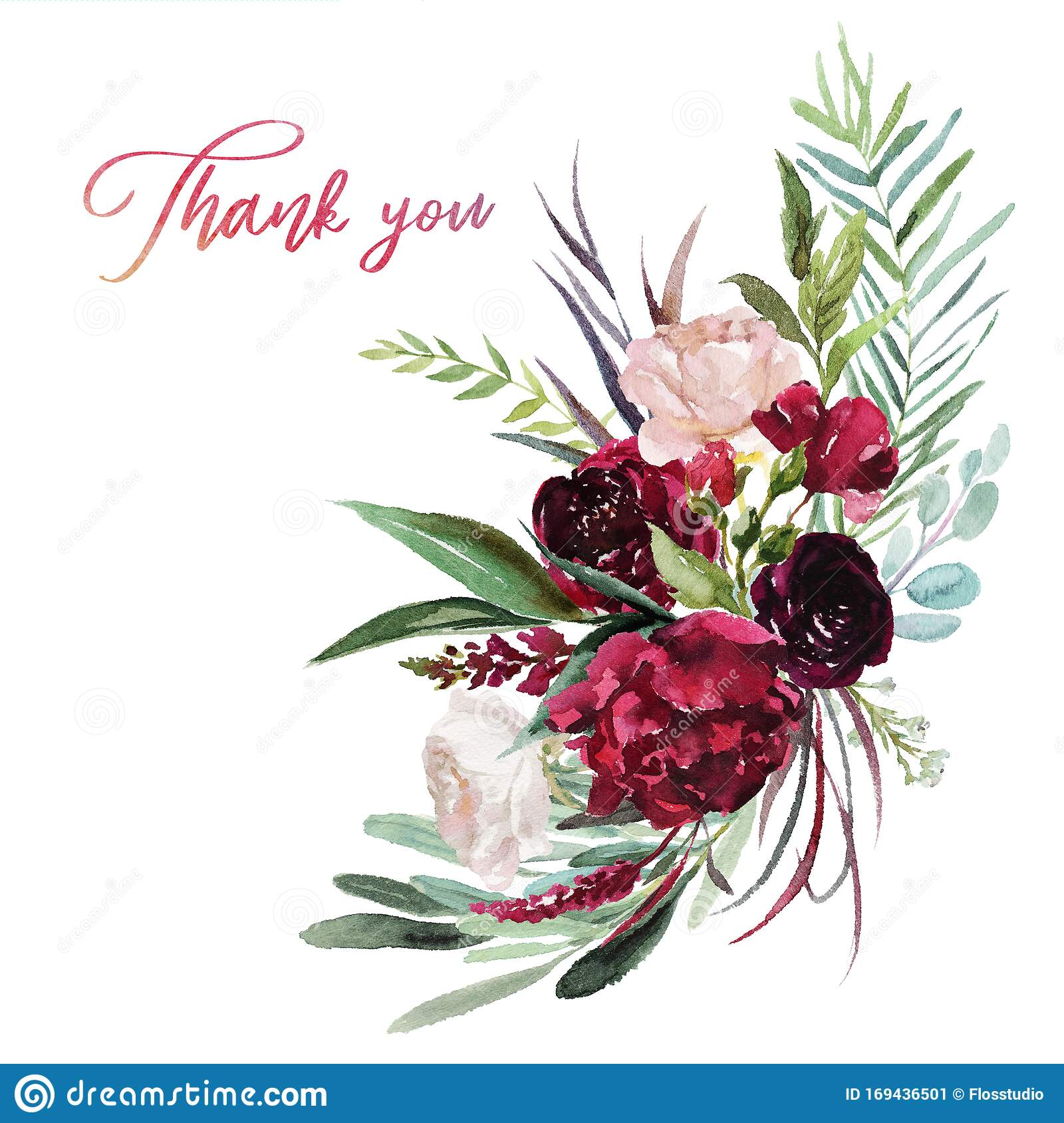 Watercolor Floral Illustration Flowers Burgundy Bouquet Stock Illustration Illustration Of Hand Leaf 169436501