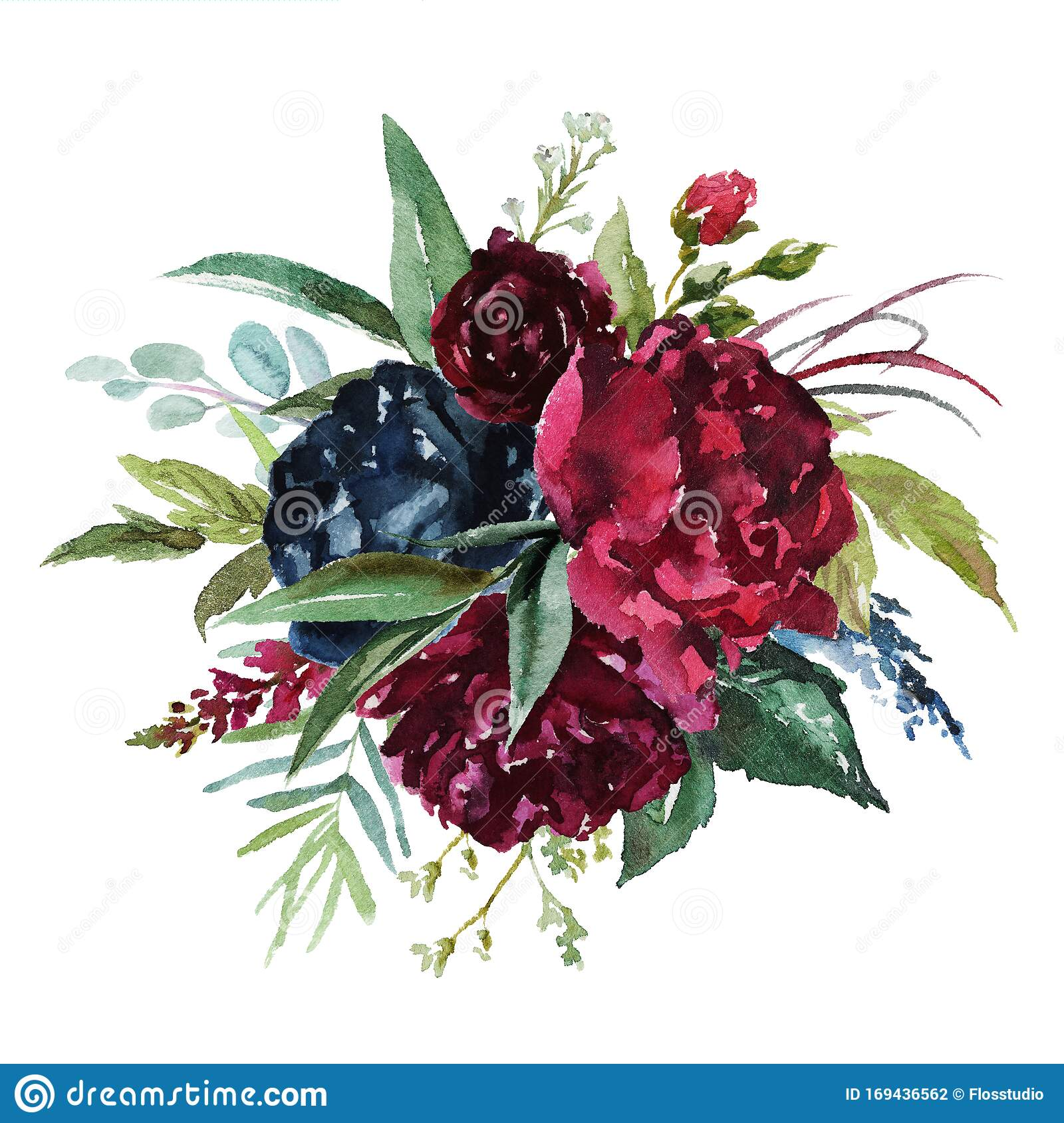 Watercolor Floral Illustration Flowers Burgundy Bouquet Stock Illustration Illustration Of Drawing Blossom 169436562