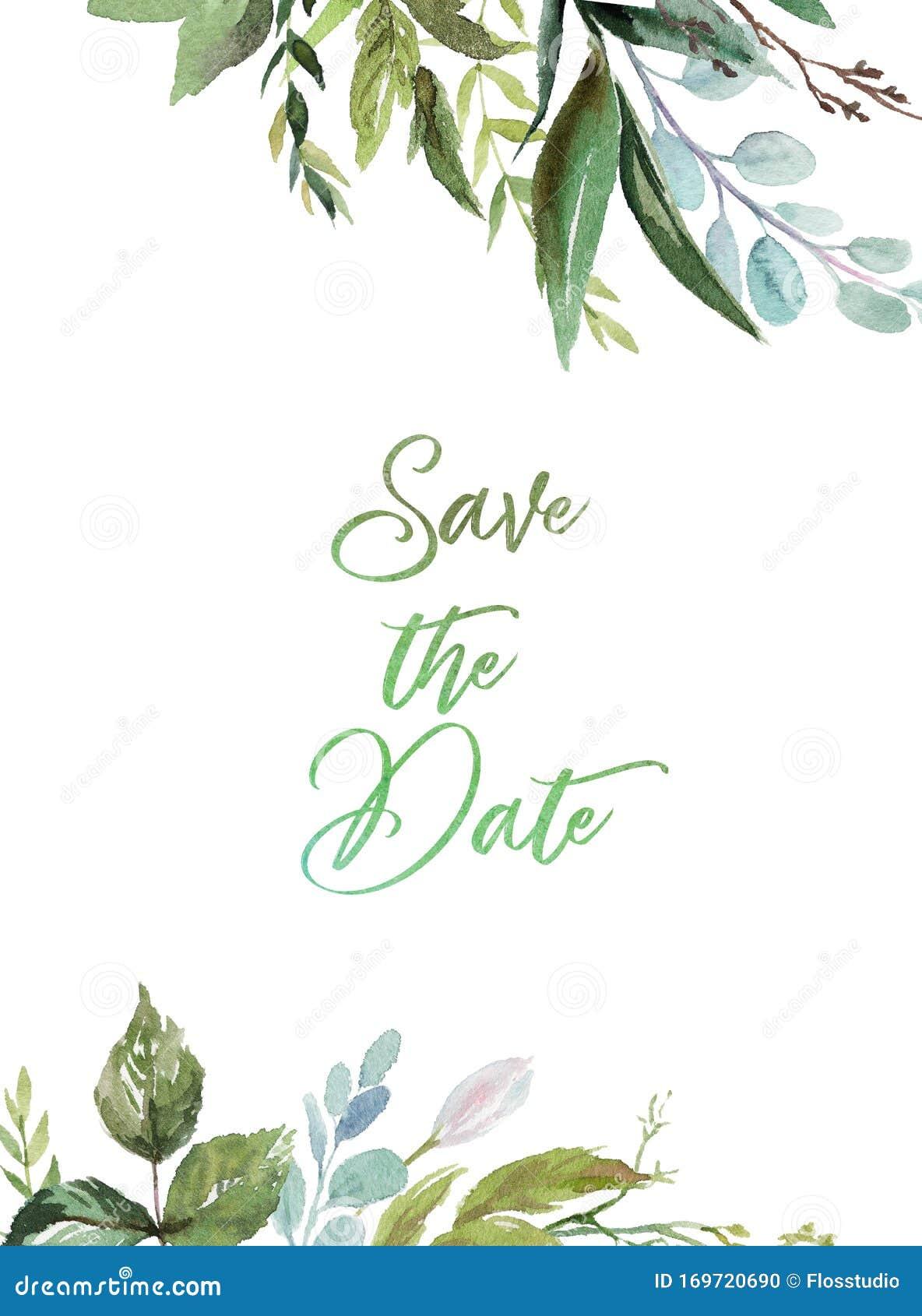 Watercolor Floral Illustration Green Leaves Frame Border For