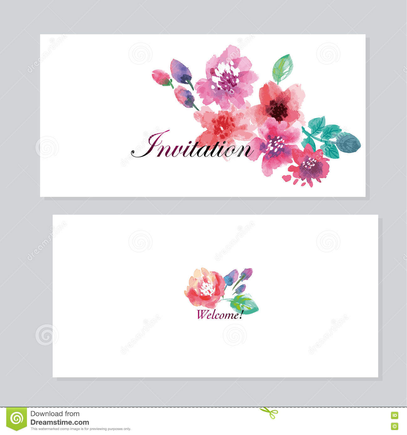 Watercolor Floral Invitation Template For Wedding. Stock ...