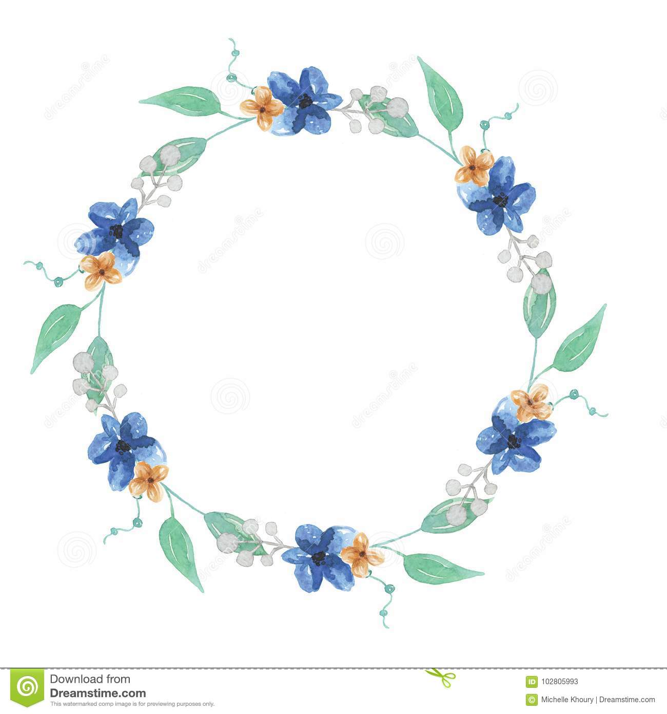 Watercolor floral leaves berries blue flowers wreath garland stock download watercolor floral leaves berries blue flowers wreath garland stock illustration illustration of cool izmirmasajfo