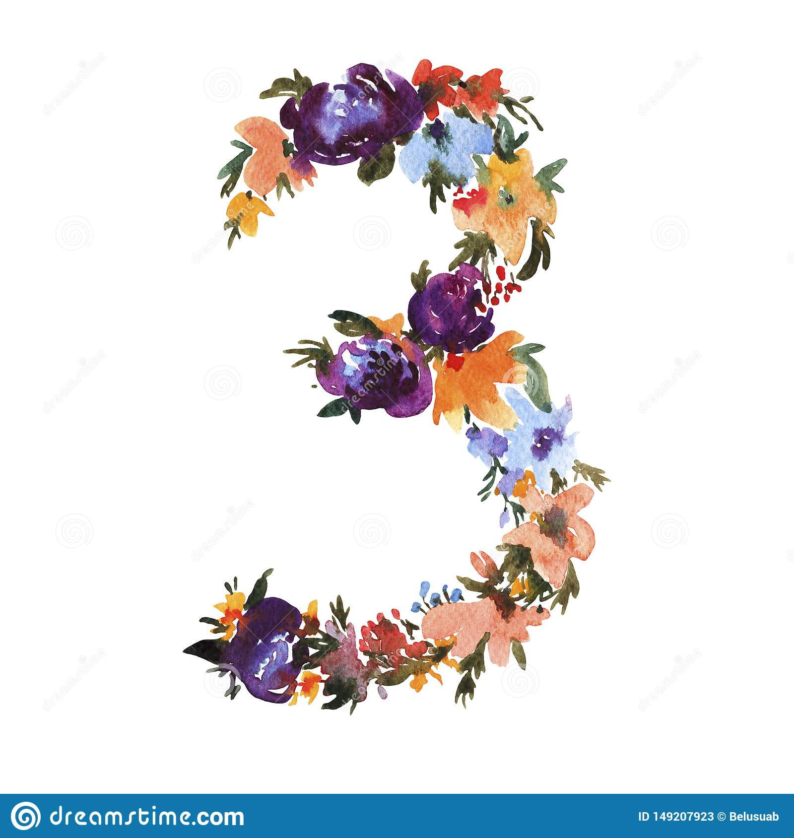Watercolor Floral Number 3 Isolated On White Background Stock Illustration