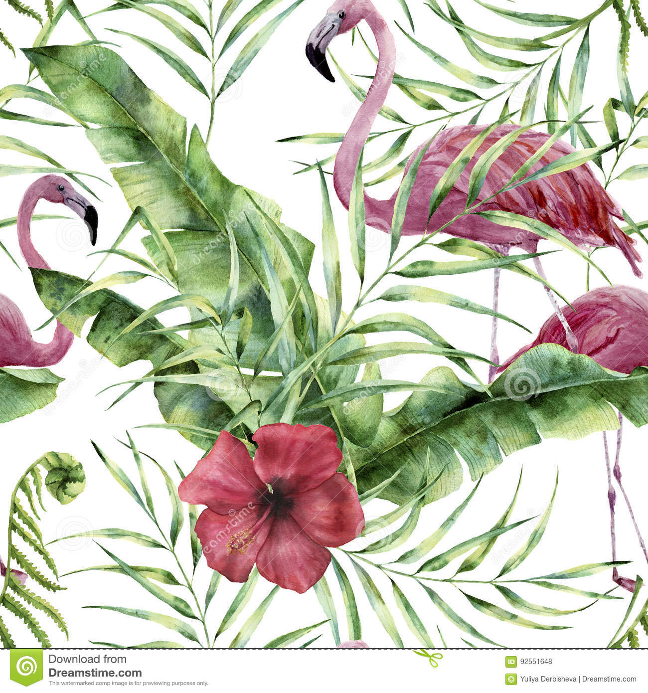 Watercolor floral pattern with exotic flowers, leaves and flamingo. Hand painted ornament with tropical plant: hibiscu