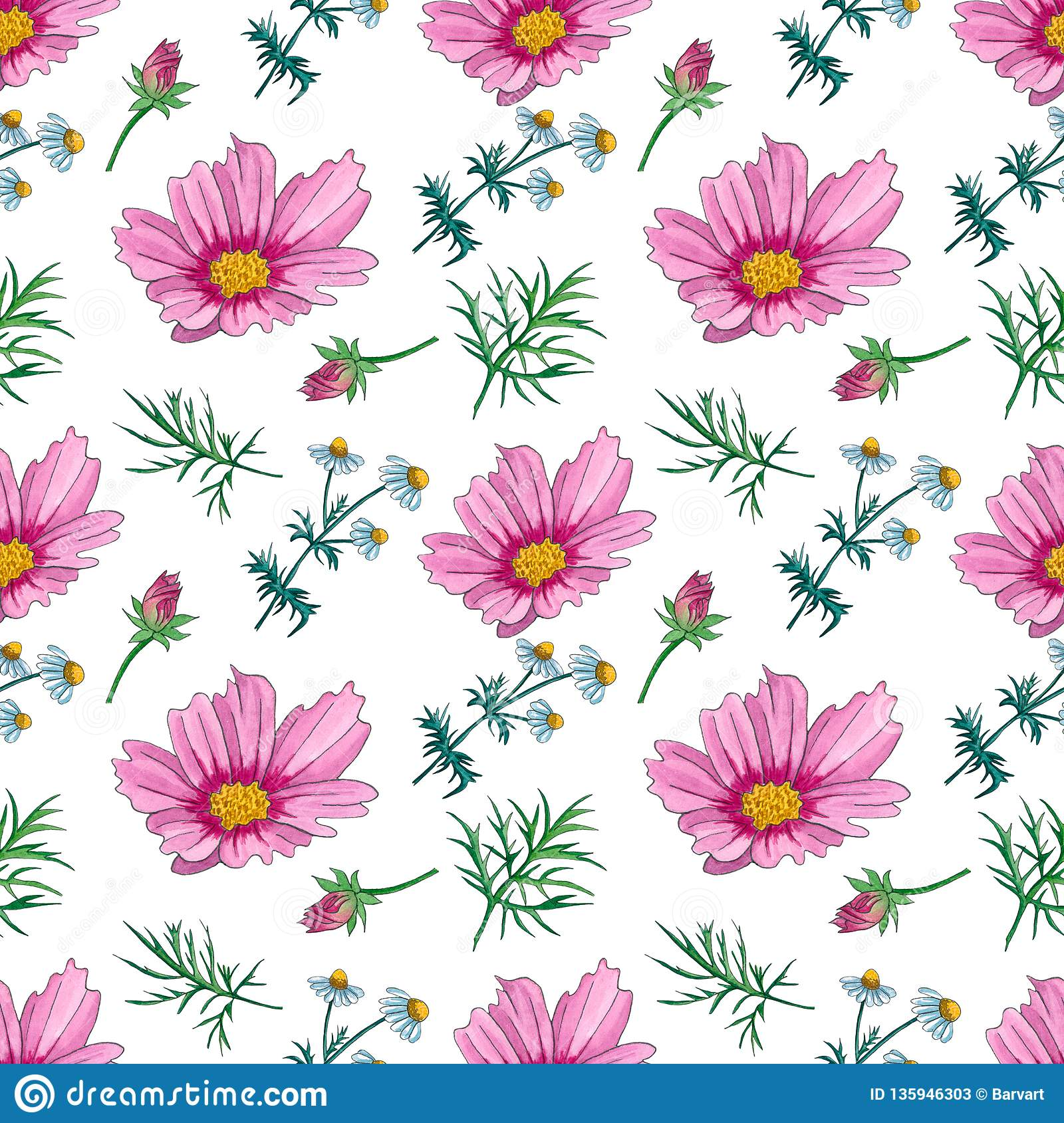 Watercolor Floral Seamless Pattern With Wildflowers Stock