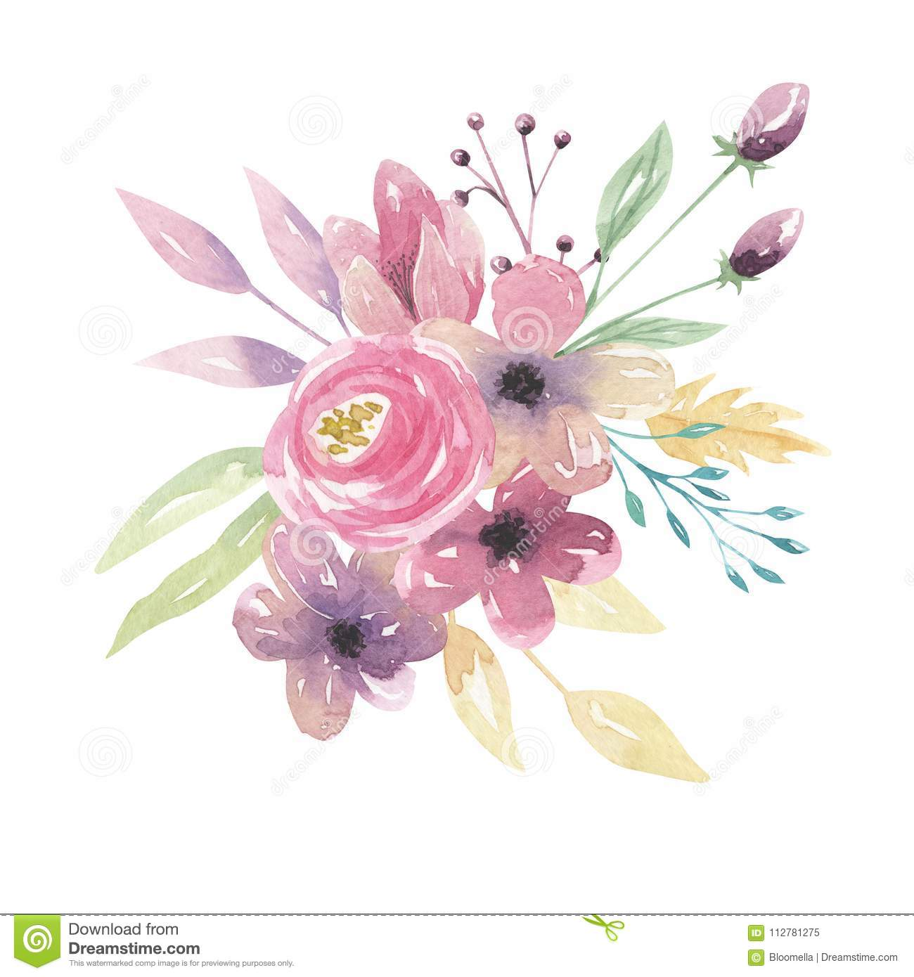 Watercolor floral pink bouquet berries purple flowers leaves green download comp izmirmasajfo