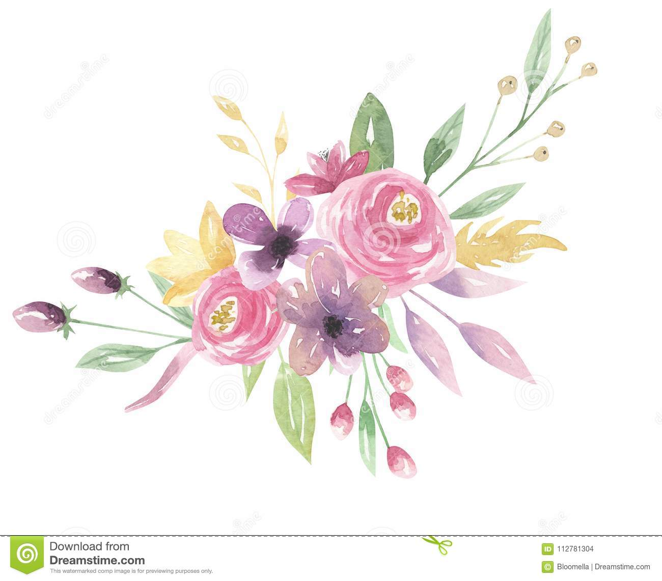 Watercolor floral pink bouquet berries purple flowers leaves green watercolor floral pink bouquet berries purple flowers leaves green arrangement created leaf izmirmasajfo
