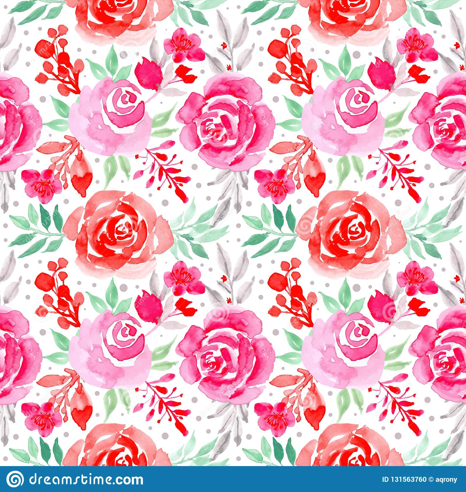 Watercolor Floral Pink And Red Flowers Seamless Pattern Stock