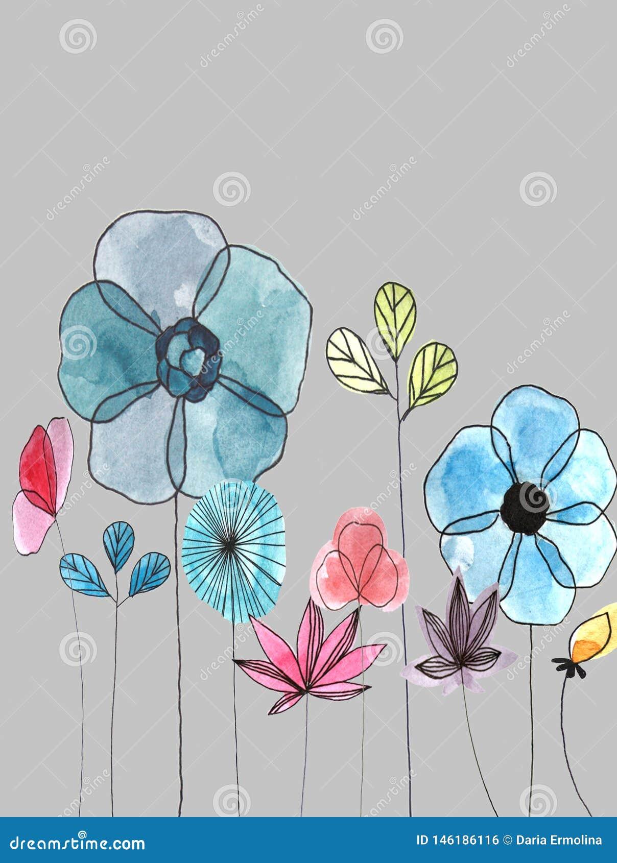 Watercolor floral postcard