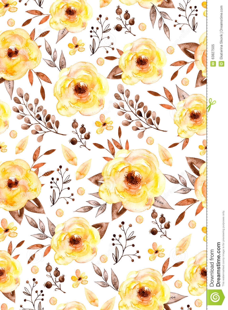 Watercolor Floral Seamless Pattern With Yellow Flowers And Leafs