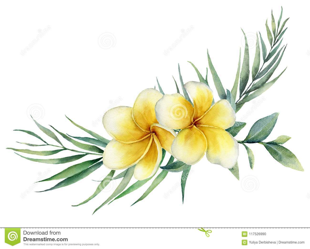Watercolor floral tropical bouquet with plumeria and palm branch. Hand painted frangipani, eucalyptus isolated on white