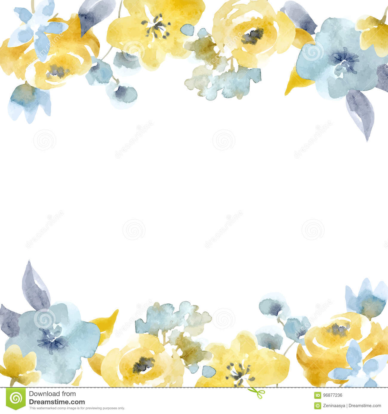 Watercolor Floral Vector Frame Stock Vector , Illustration