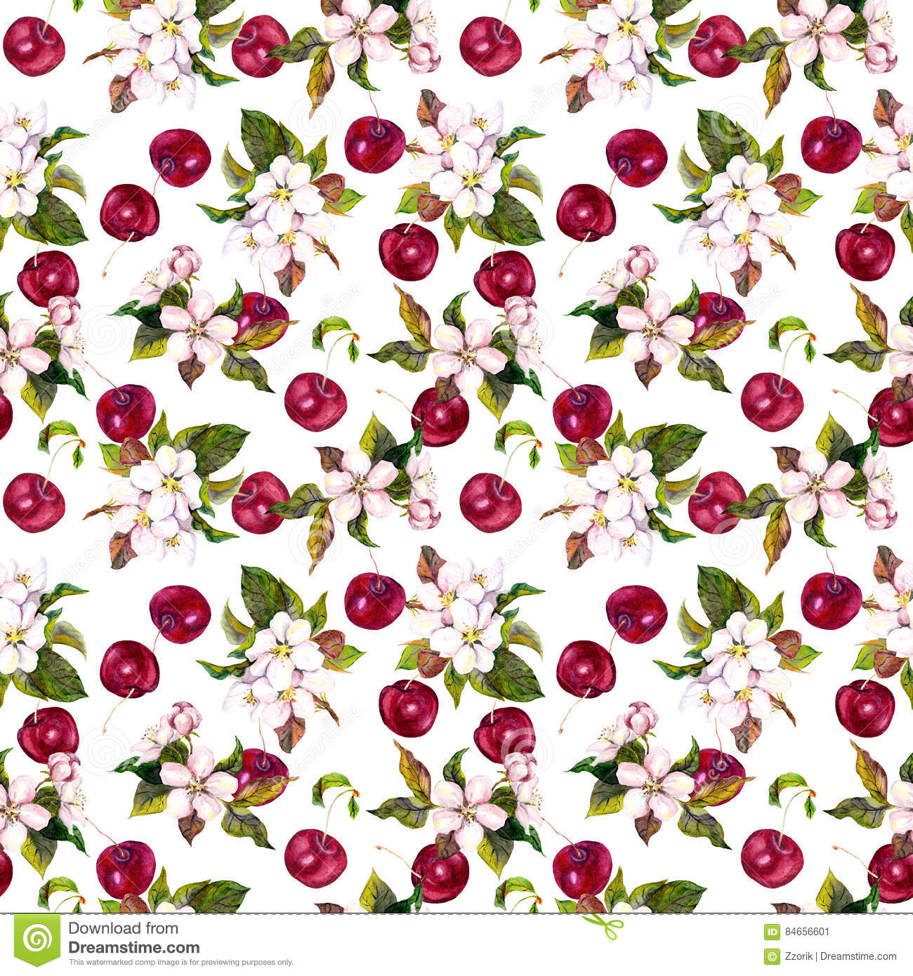 Watercolor Floral Wallpaper With Cherry Berries And Flowers Stock