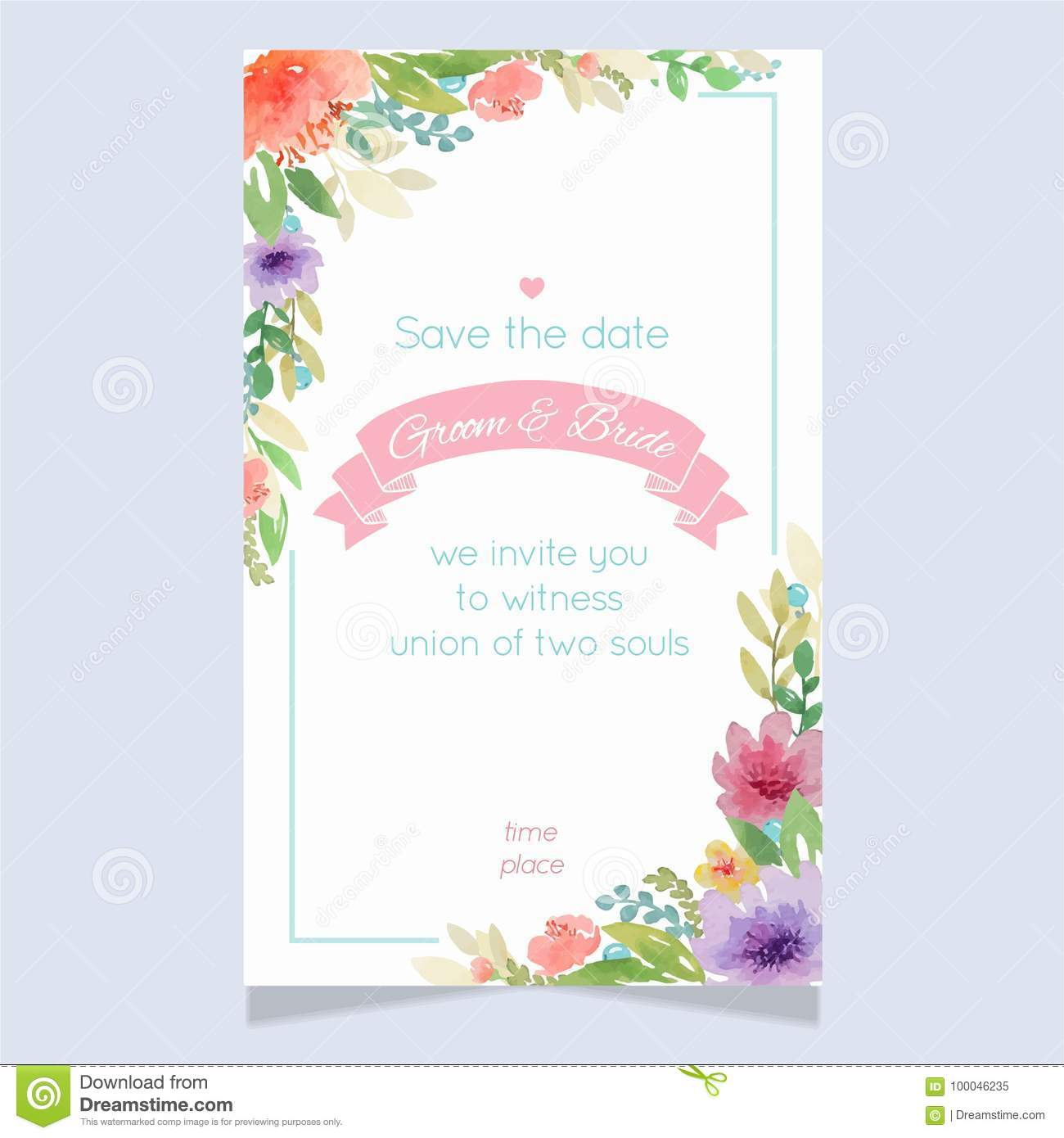 Watercolor Floral Wedding Invitation Card Template Stock