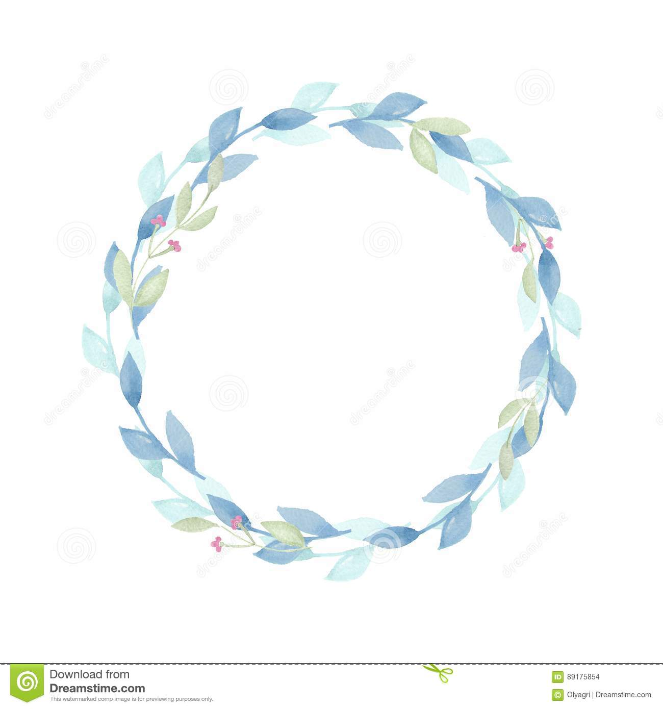 Watercolor floral wreath with blue leaves stock illustration watercolor floral wreath with blue leaves izmirmasajfo Gallery