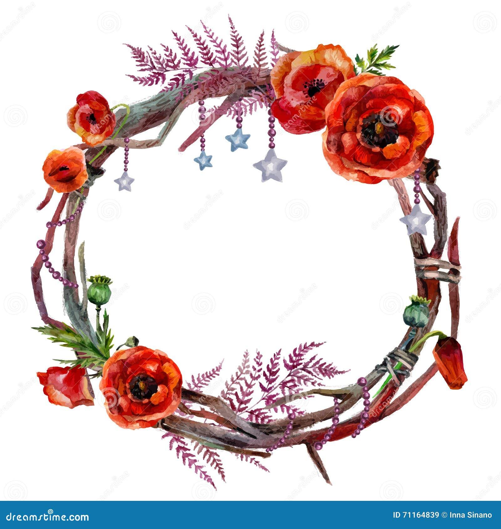 Watercolor Floral Wreath Stock Vector