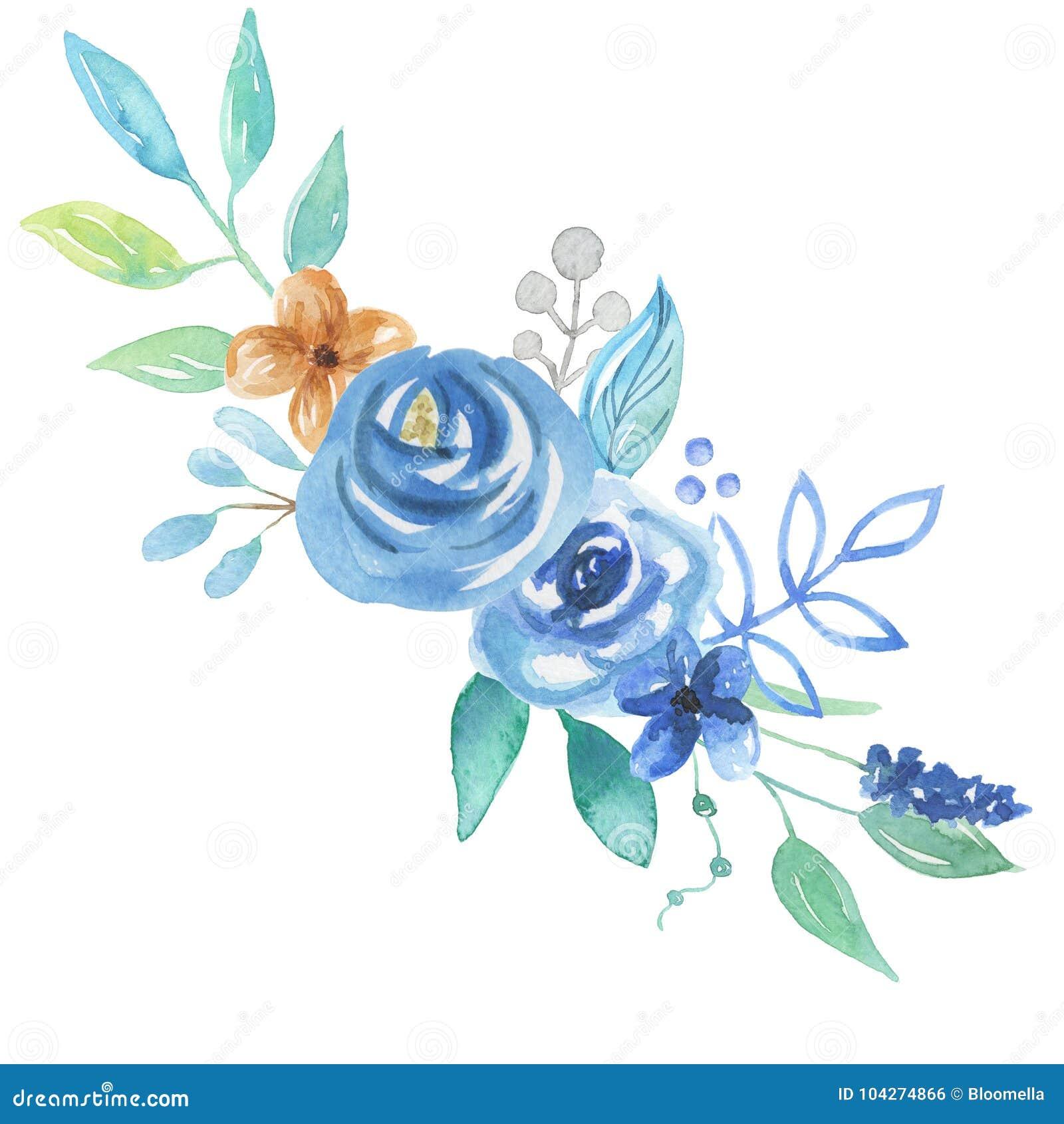 Watercolor Florals Blue Bouquet Berries Leaves Arrangement Wedding