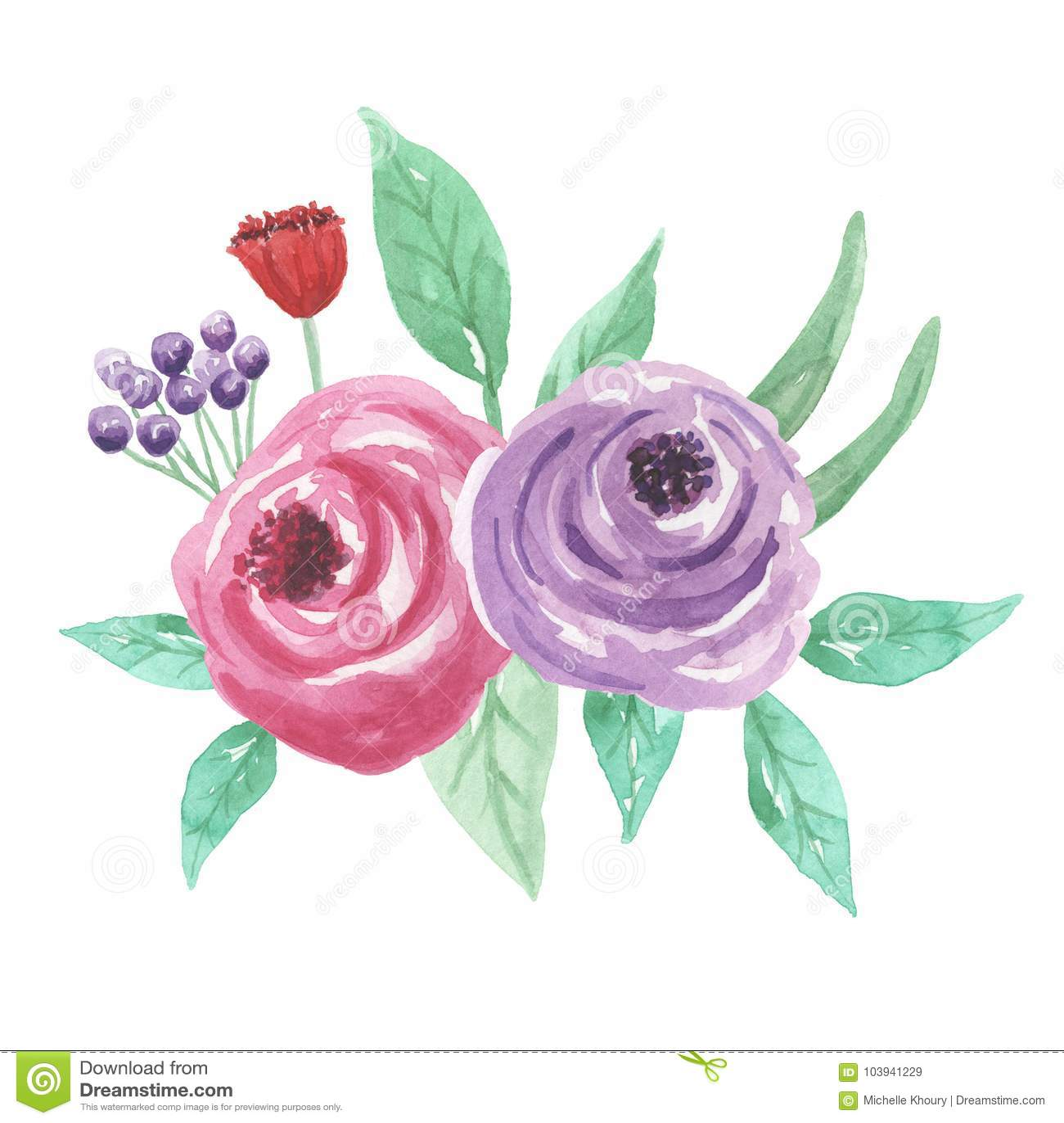 Watercolor Florals Bouquet Arrangement Purple Pink Wedding Flowers ...
