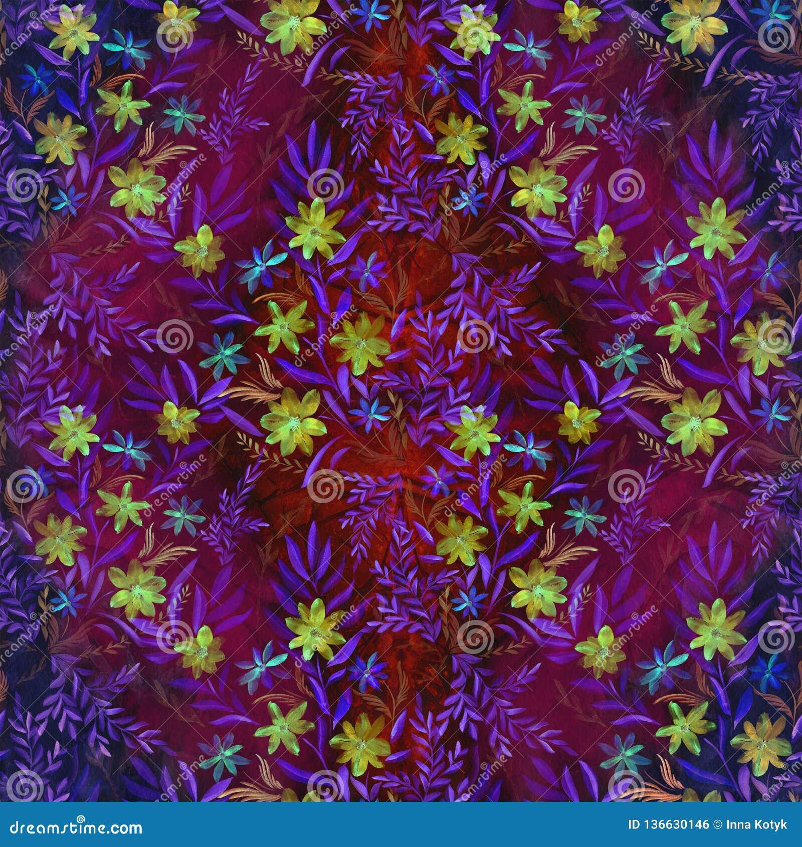Watercolor Flores en un fondo de la acuarela Papel pintado abstracto con adornos florales Modelo inconsútil
