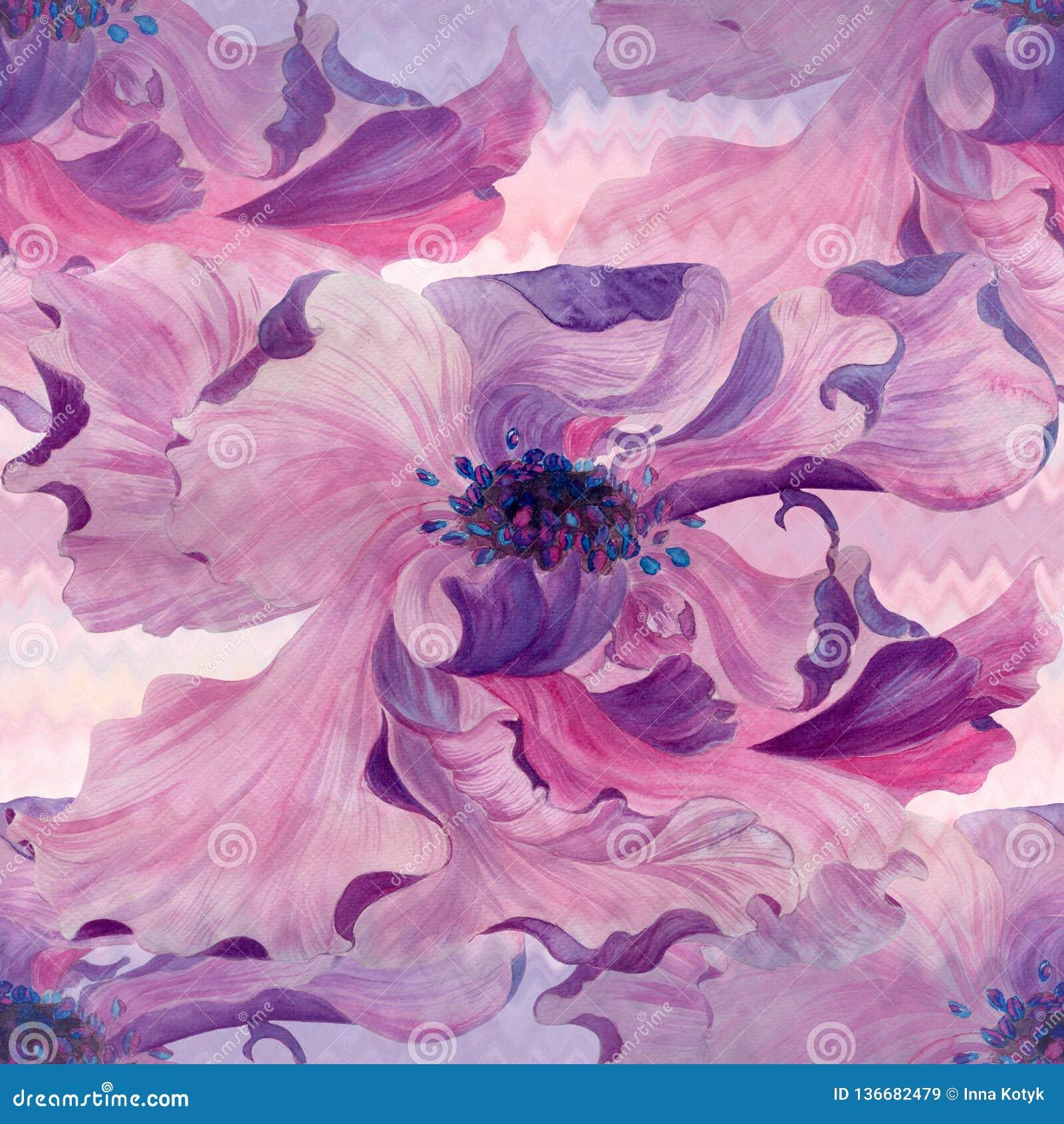 Watercolor Flores en un fondo de la acuarela Papel pintado abstracto con adornos florales Modelo inconsútil Composición de la flo