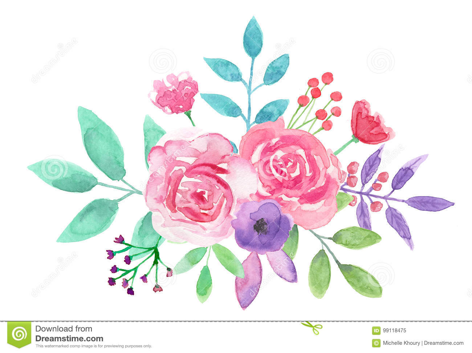 Watercolor Flower Arrangement Pink Floral Hand Painted Bouquet Stock Illustration Illustration Of Flower Mauve 99118475