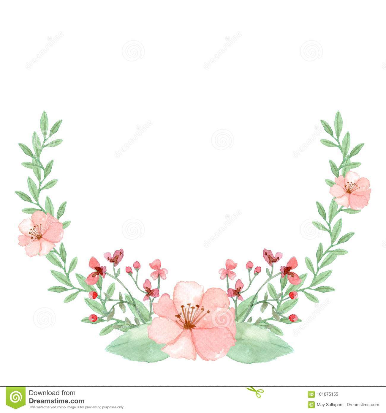 Watercolor Flower Background Floral Frame Stock