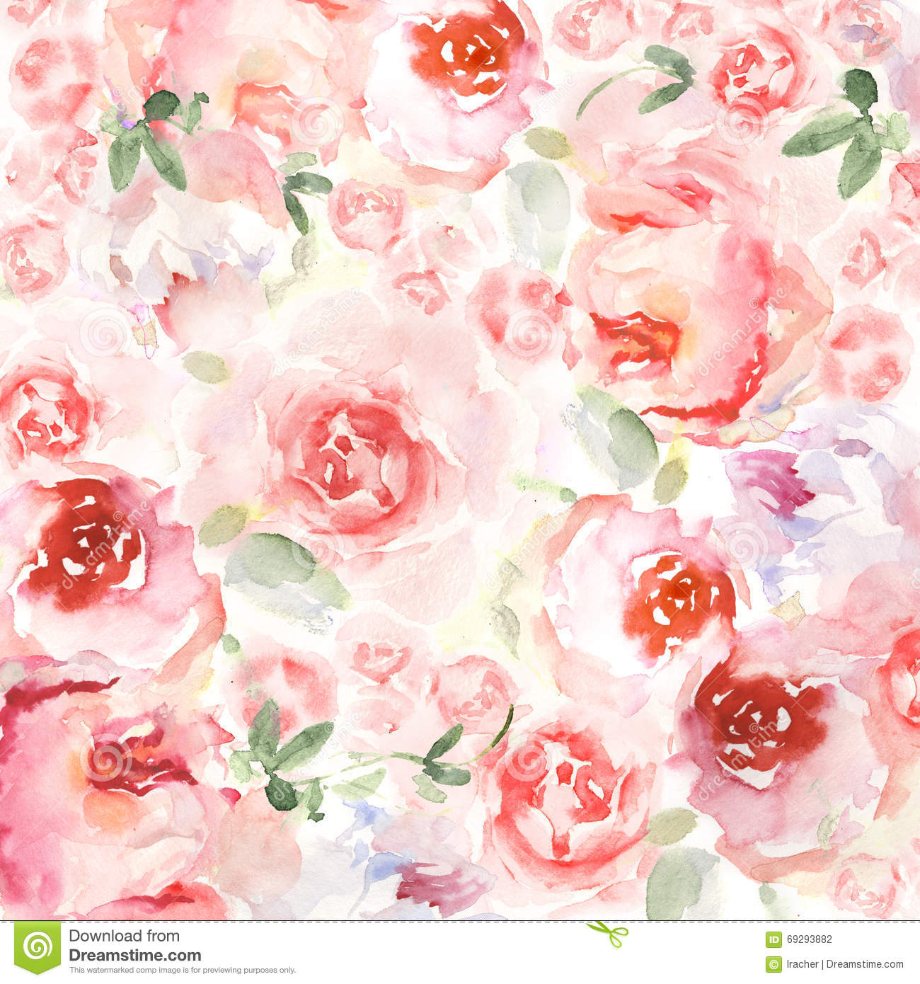 Watercolor Flower Background For Invitation Card Floral
