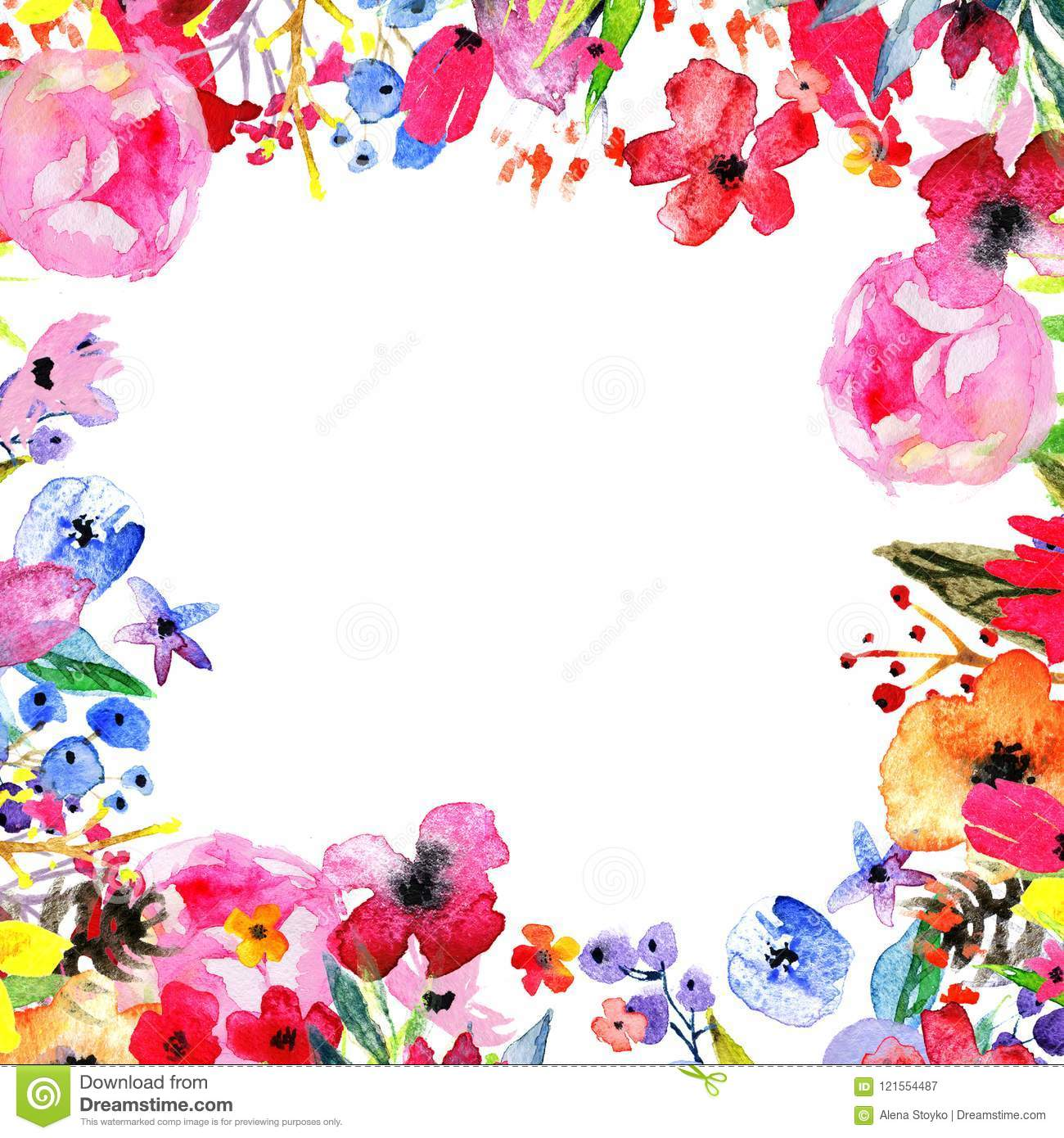 Watercolor Flower Border Stock Illustration. Illustration