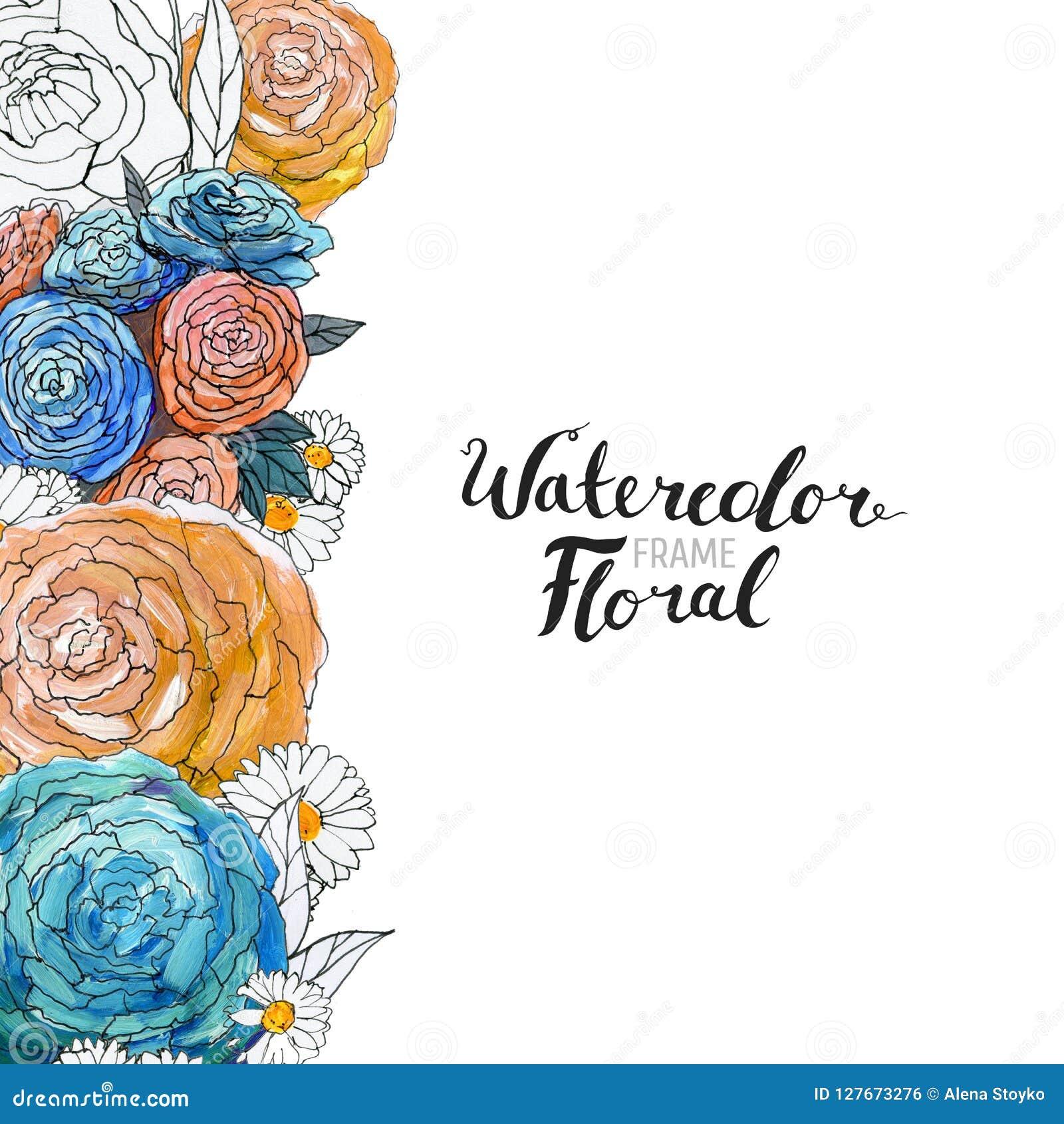 watercolor flower border stock illustration illustration of