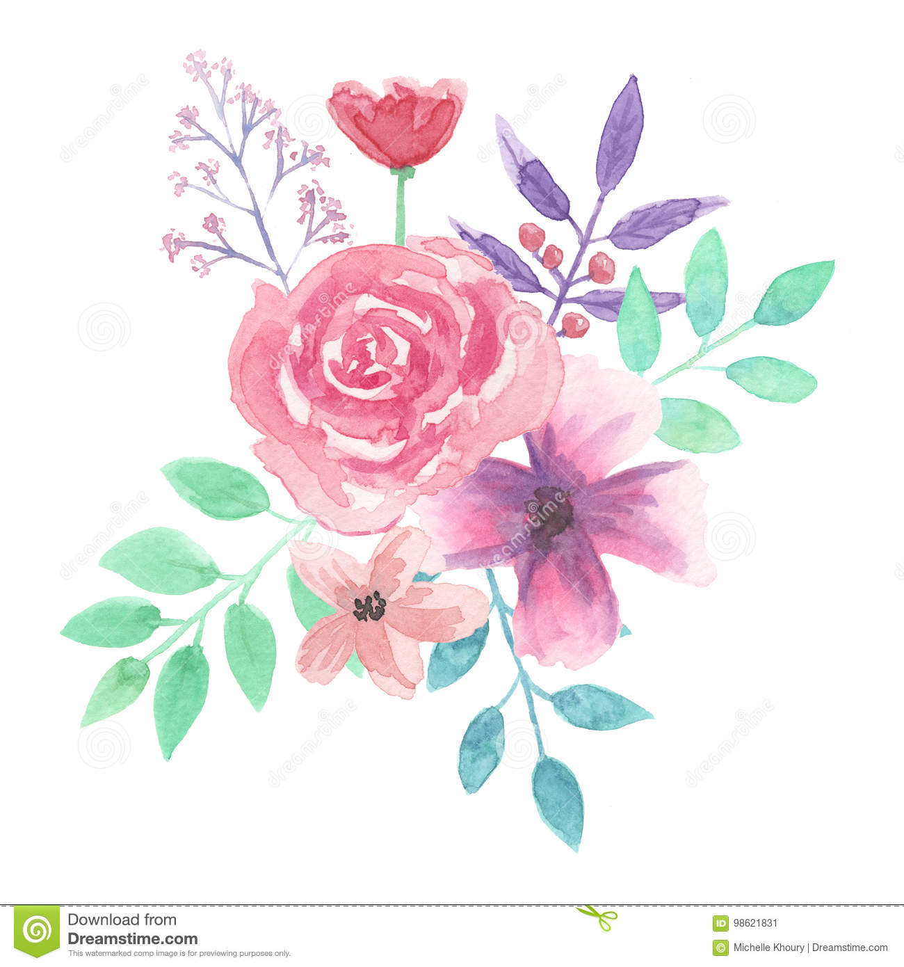 Watercolor Flower Bouquet Leaf Pink Roses Spring Summer Stock