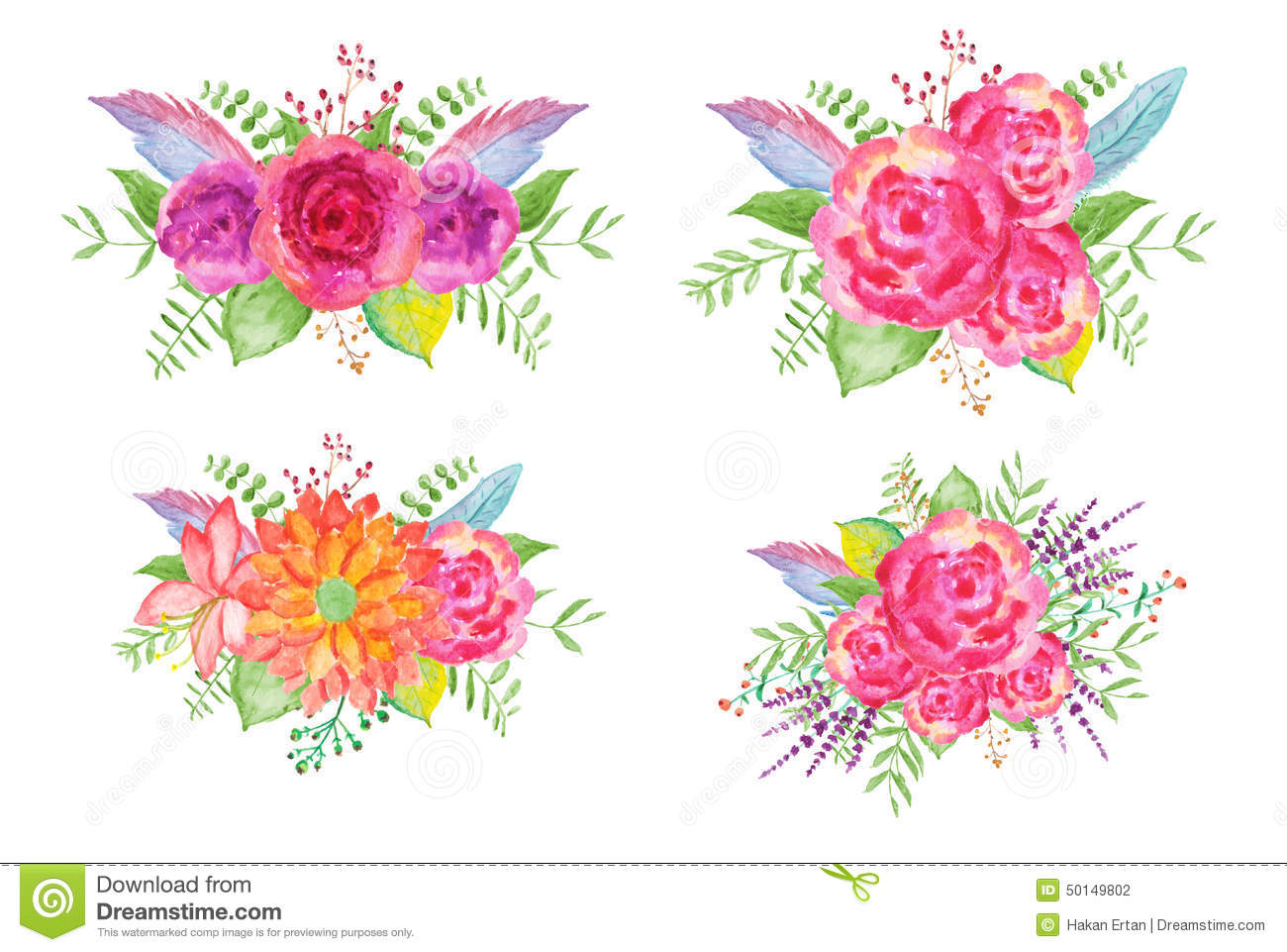 Watercolor Flower Bouquets stock illustration. Illustration of ...