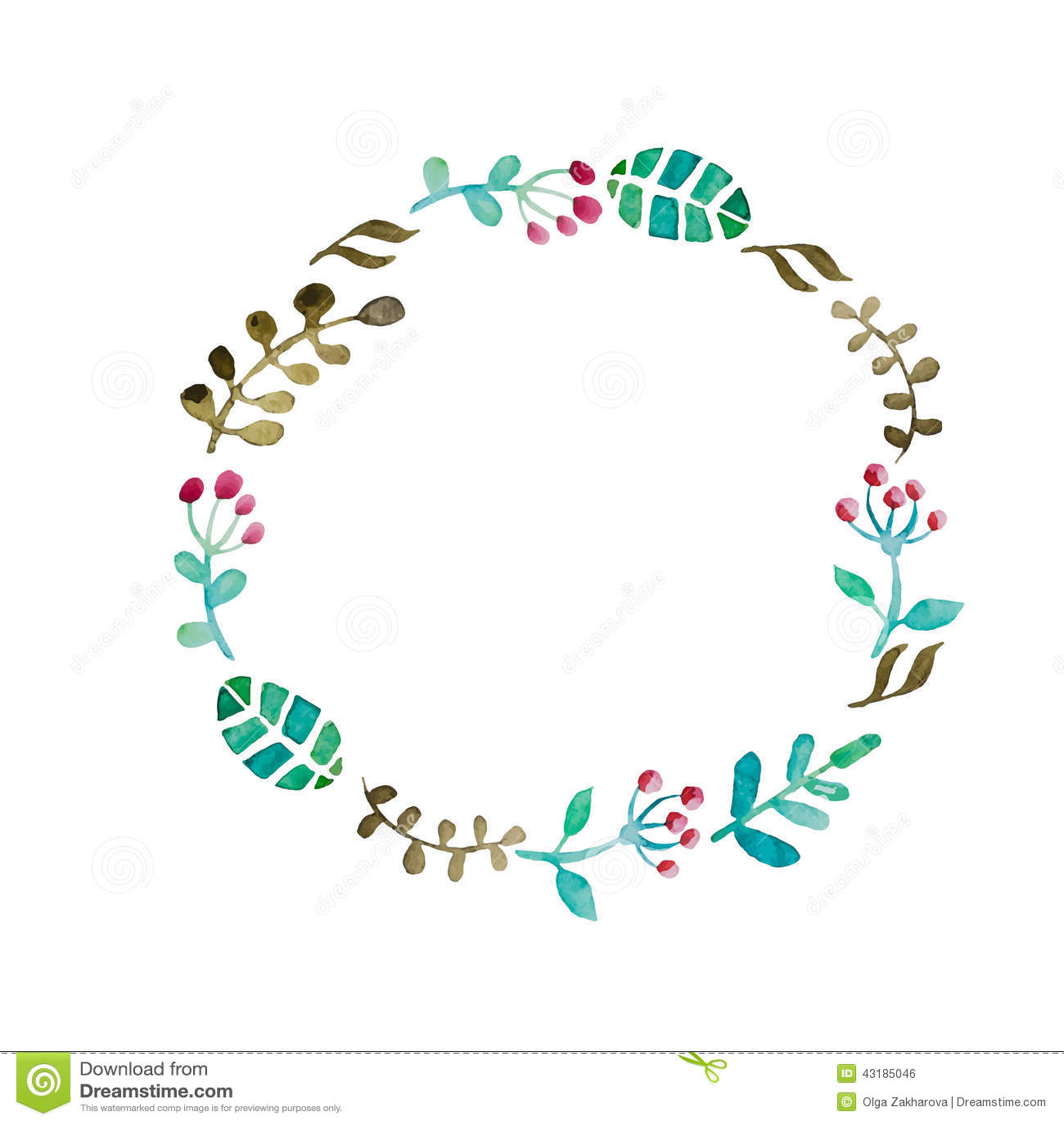 Watercolor flower frame stock illustration. Image of ...