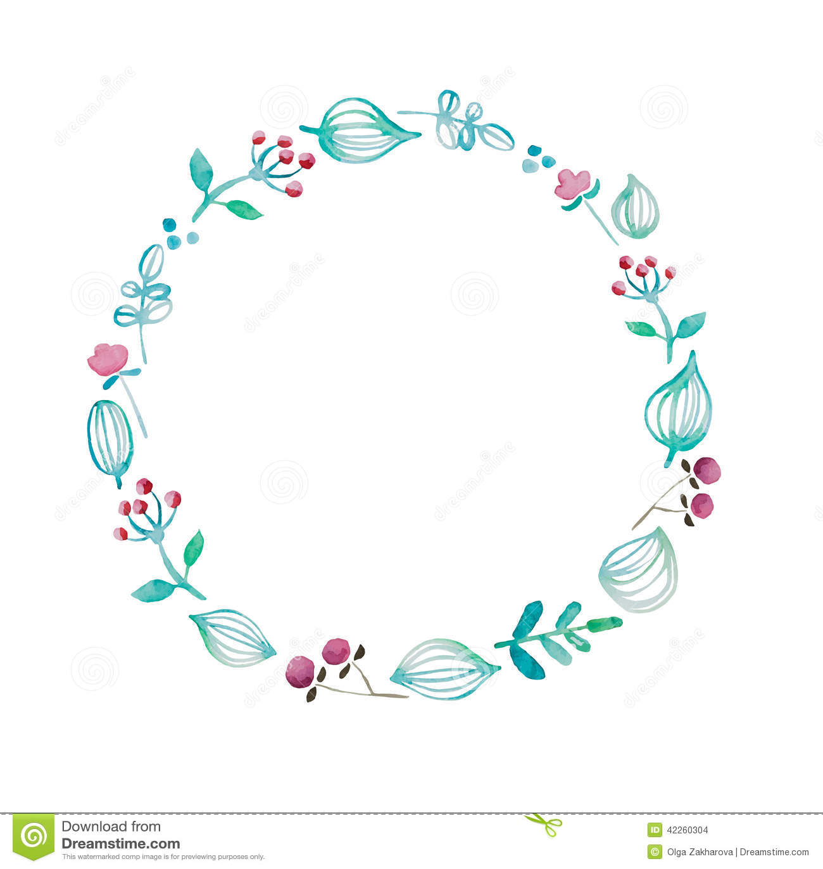 Watercolor Flower Frame Stock Vector - Image: 42260304