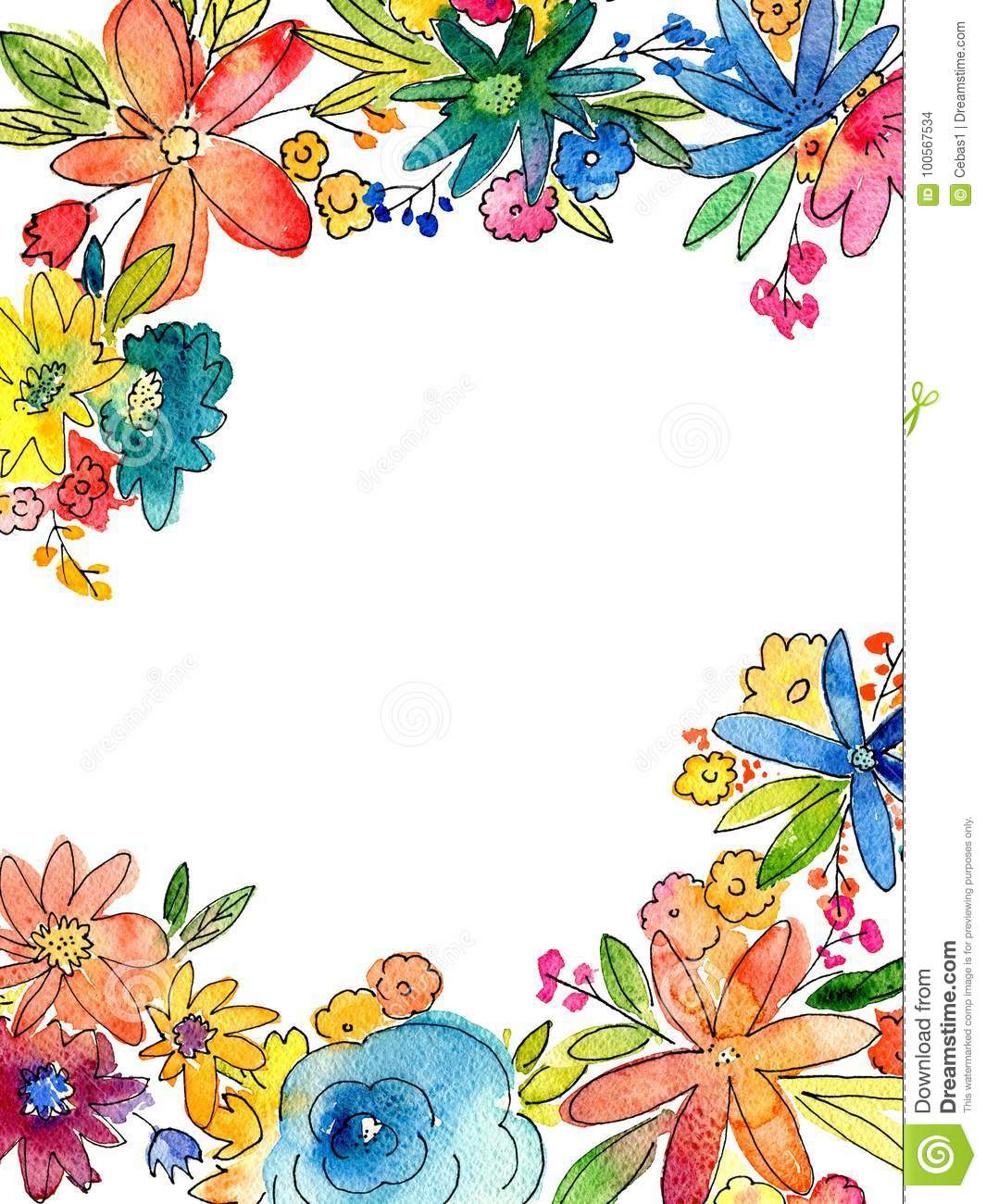 Watercolor flower frame illustration with blank copy space