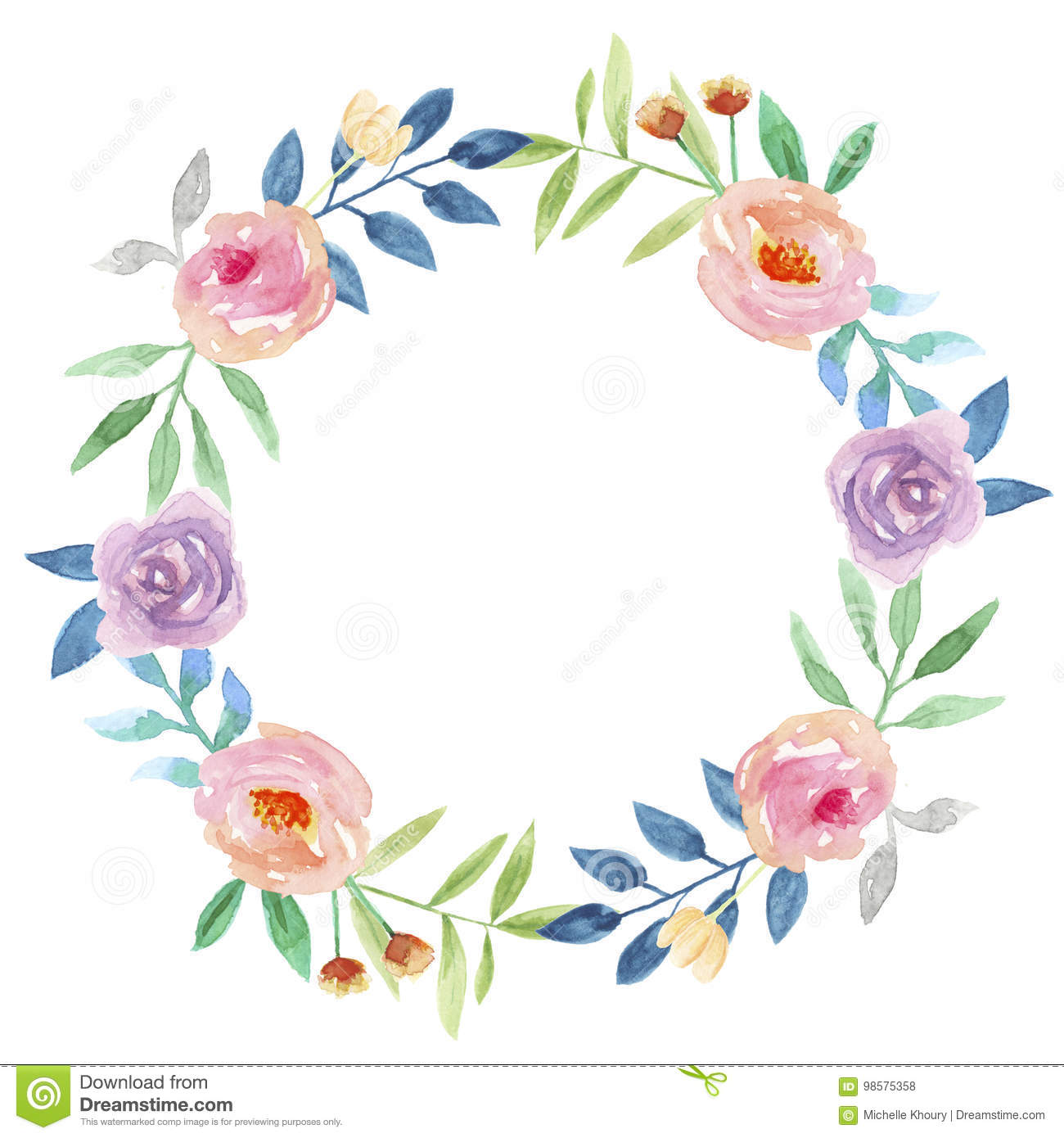 Watercolor Flower Hand Blue Painted Garland Delicate Pink Purple Summer Floral Wreath Stock Illustration Illustration Of Floral Autumn 98575358