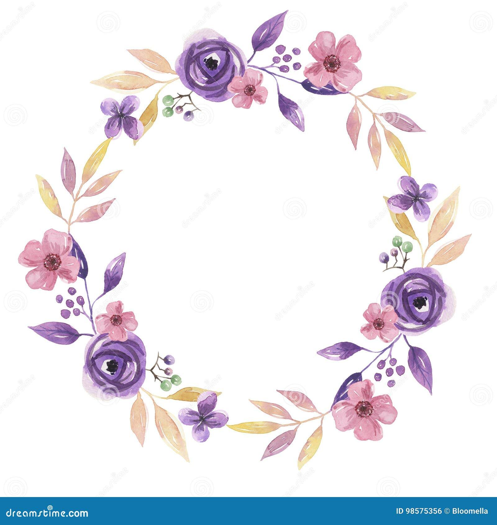 Watercolor Flower Hand Painted Garland Delicate Pink Purple Summer Floral Wreath Stock Illustration Illustration Of Arts Elegant 98575356