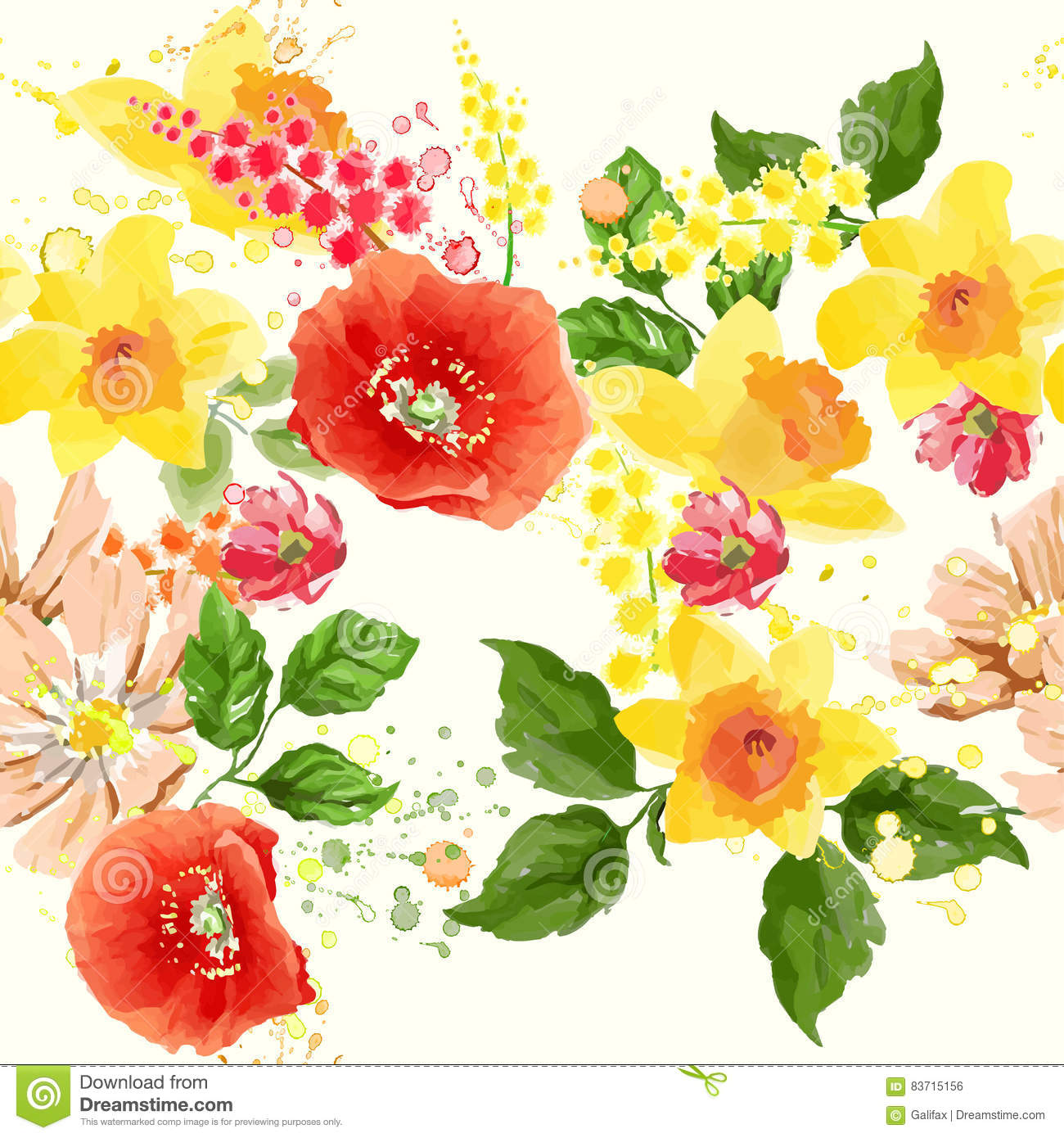 Watercolor Flower Seamless Stock Vector