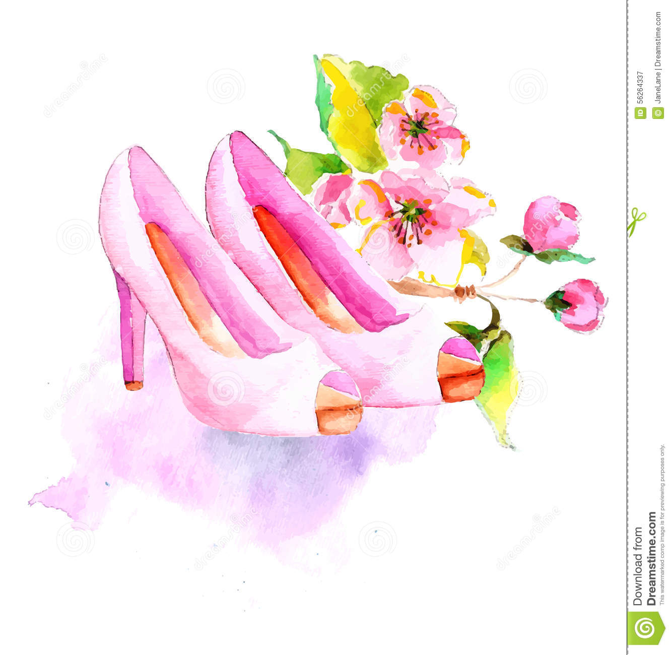 Watercolor flower and shoes beautiful illustration for fashion or